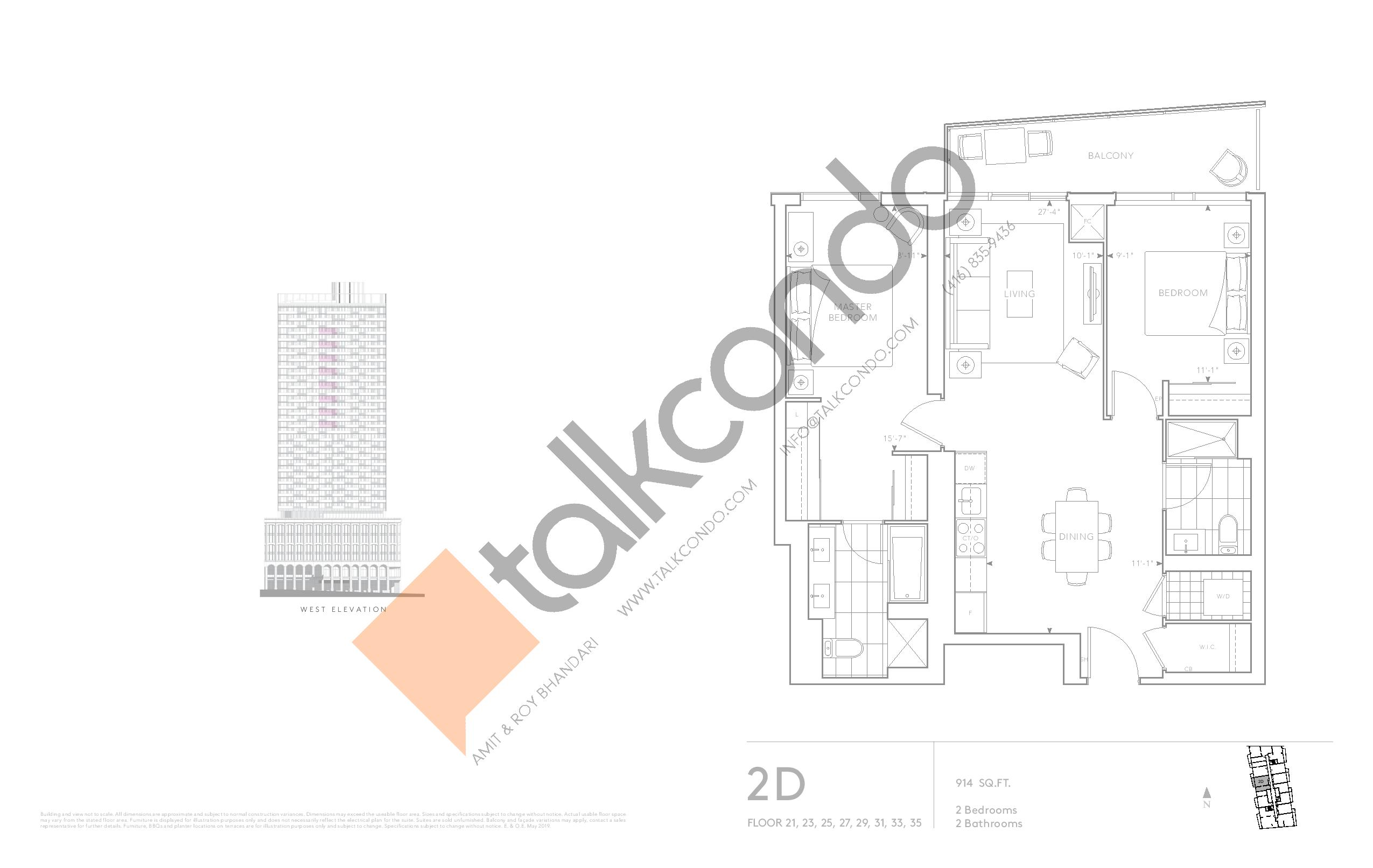 2D - Classic Series Floor Plan at Tridel at The Well Condos - 914 sq.ft
