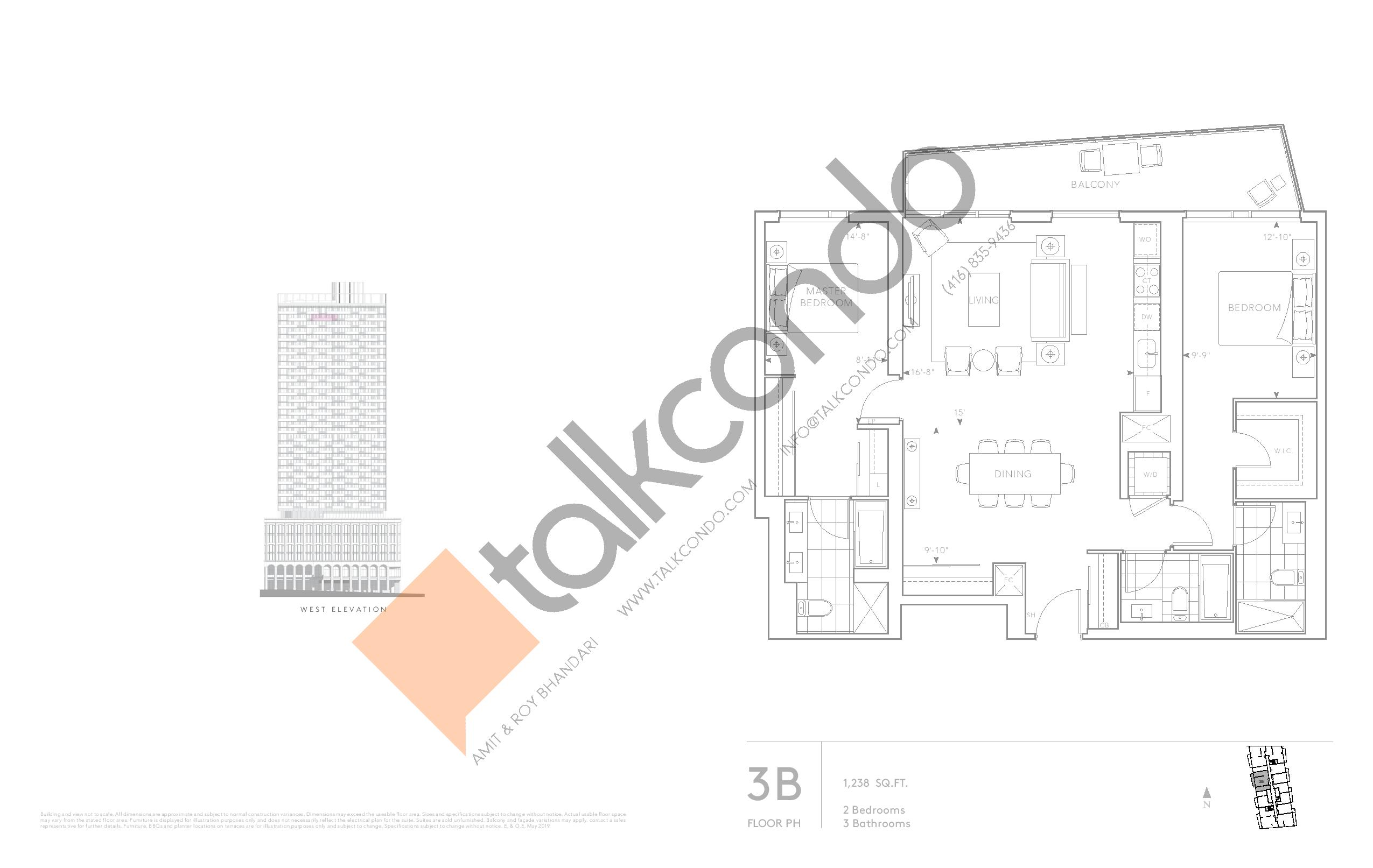 3B - Classic Series Floor Plan at Tridel at The Well Condos - 1238 sq.ft