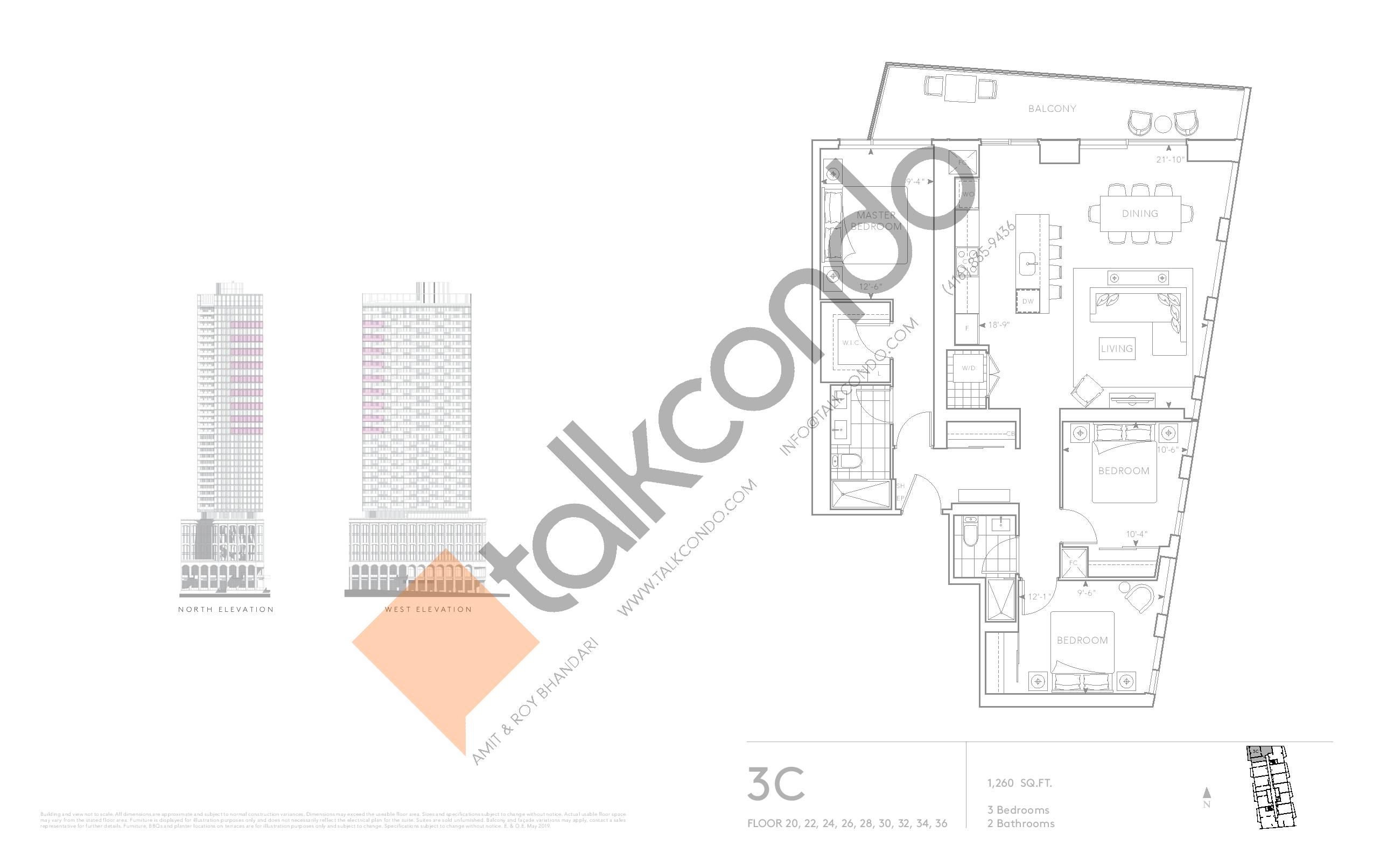 3C - Classic Series Floor Plan at Tridel at The Well Condos - 1260 sq.ft