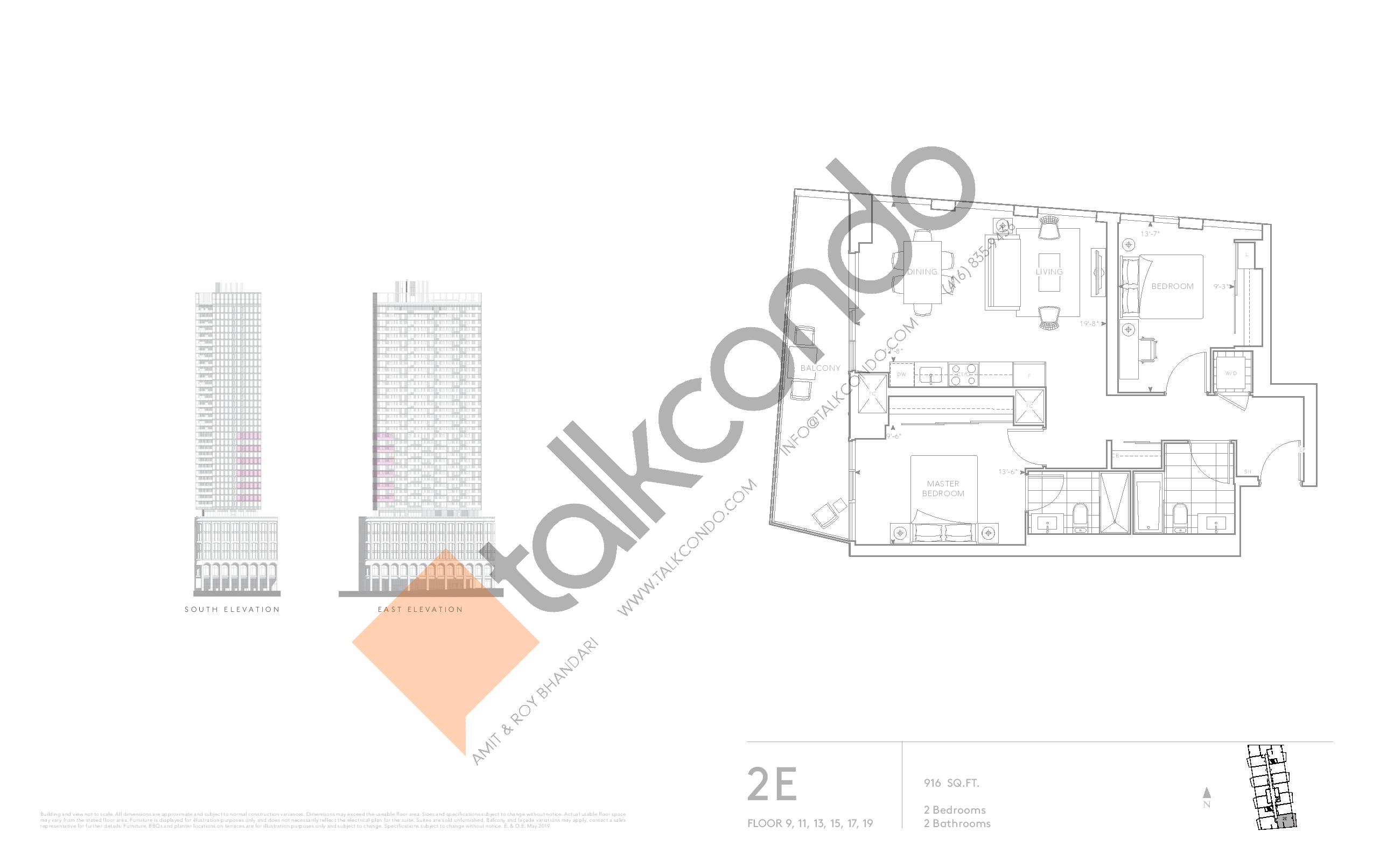 2E - Classic Series Floor Plan at Tridel at The Well Condos - 916 sq.ft