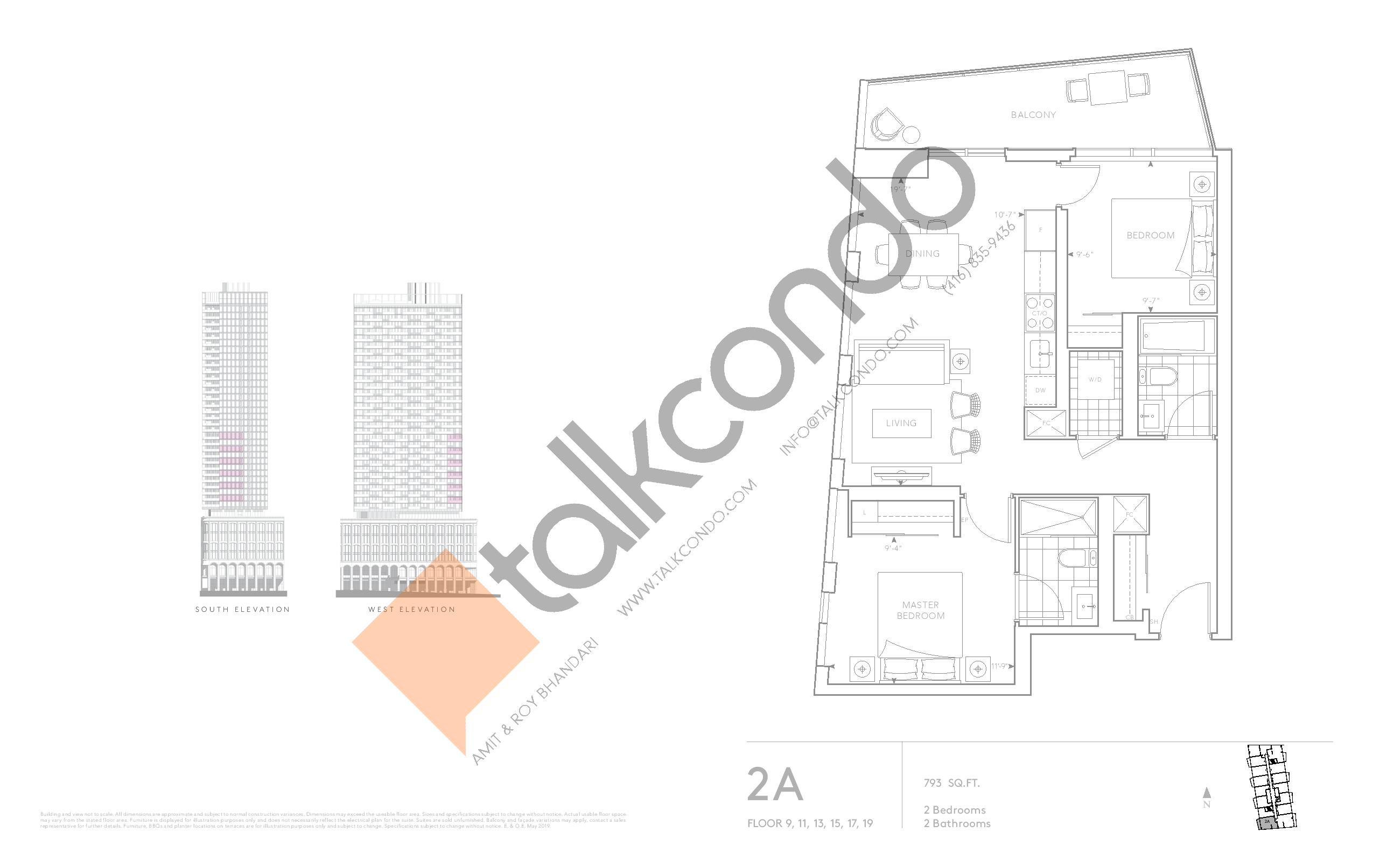 2A - Classic Series Floor Plan at Tridel at The Well Condos - 793 sq.ft