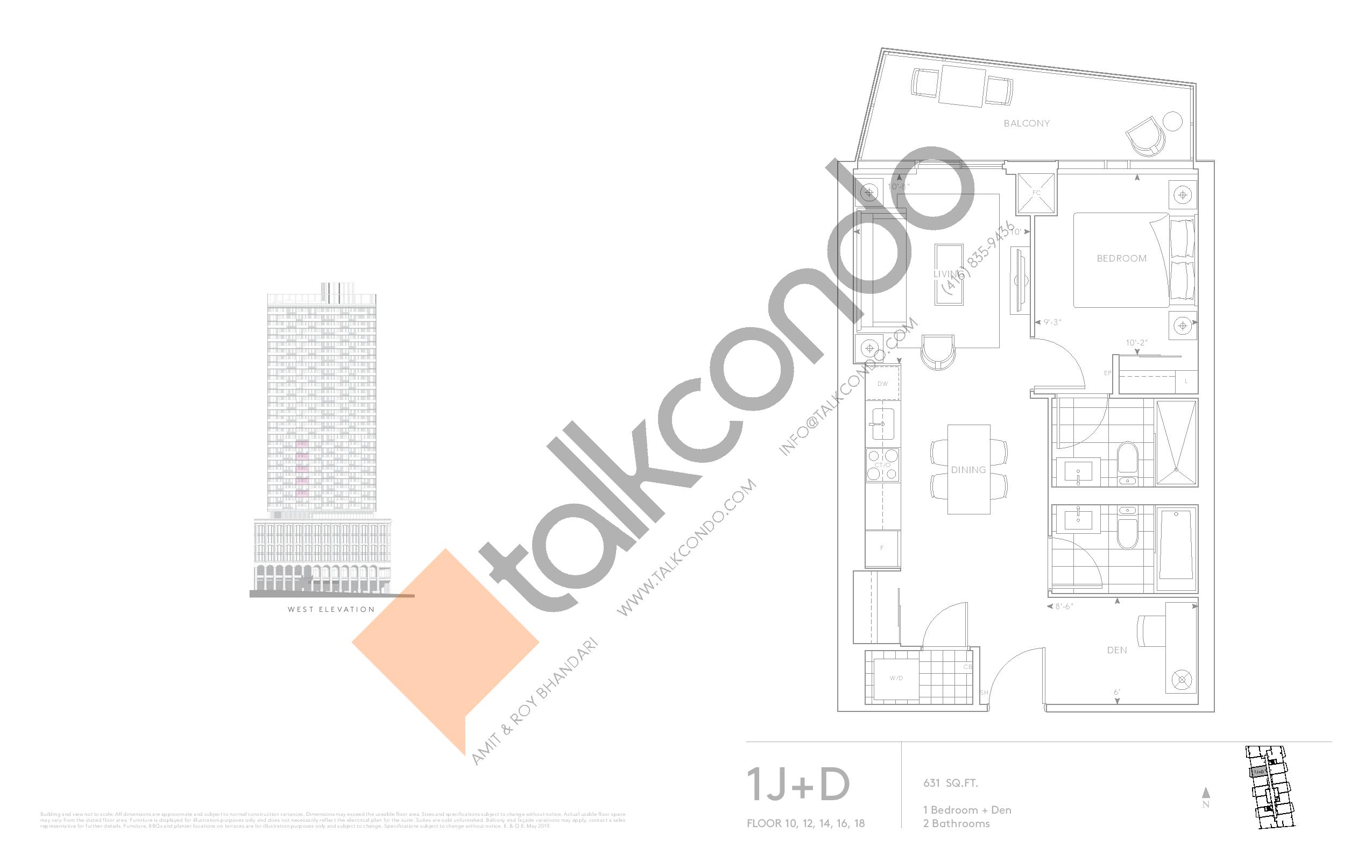 1J+D - Classic Series Floor Plan at Tridel at The Well Condos - 631 sq.ft