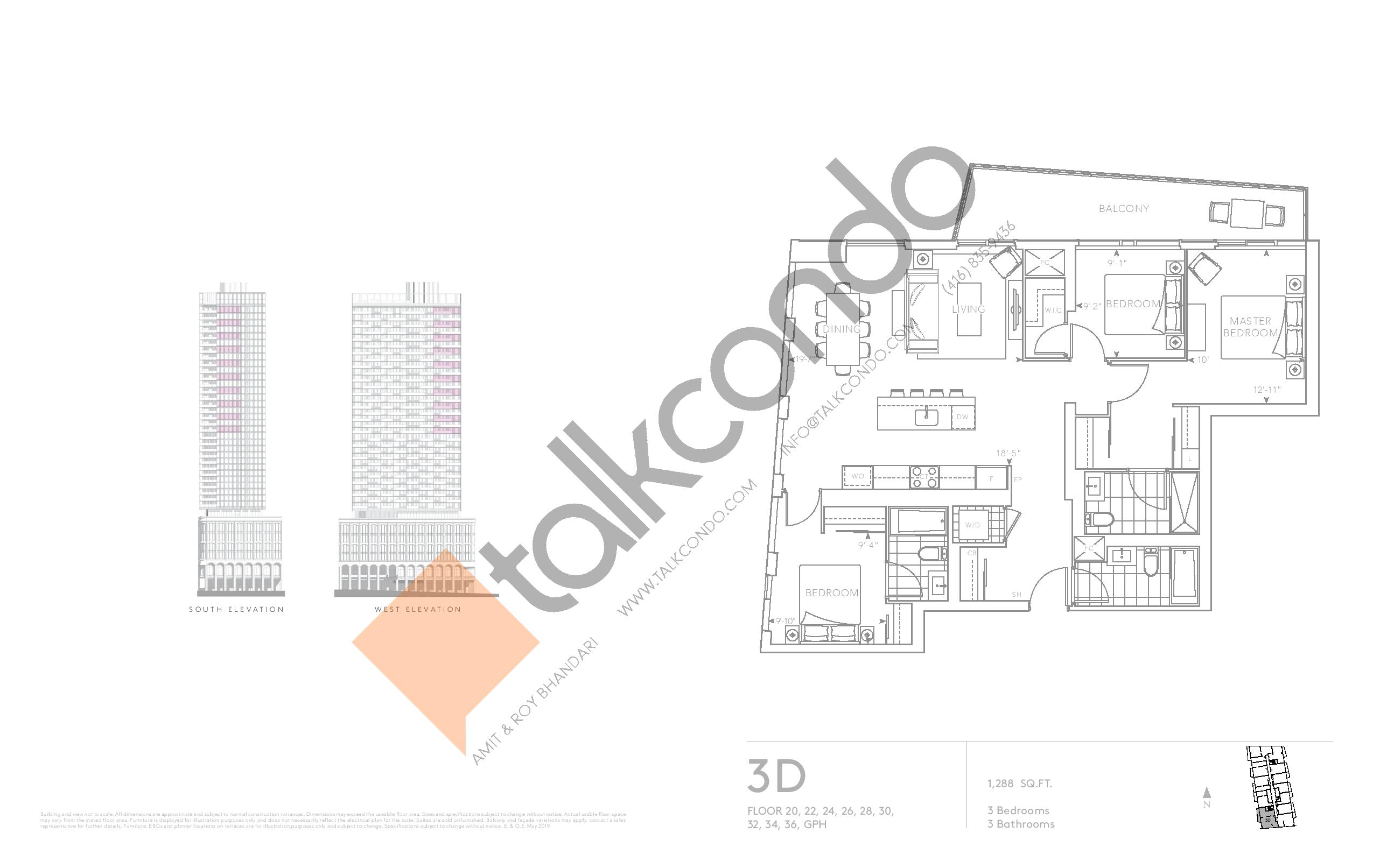 3D - Classic Series Floor Plan at Tridel at The Well Condos - 1288 sq.ft