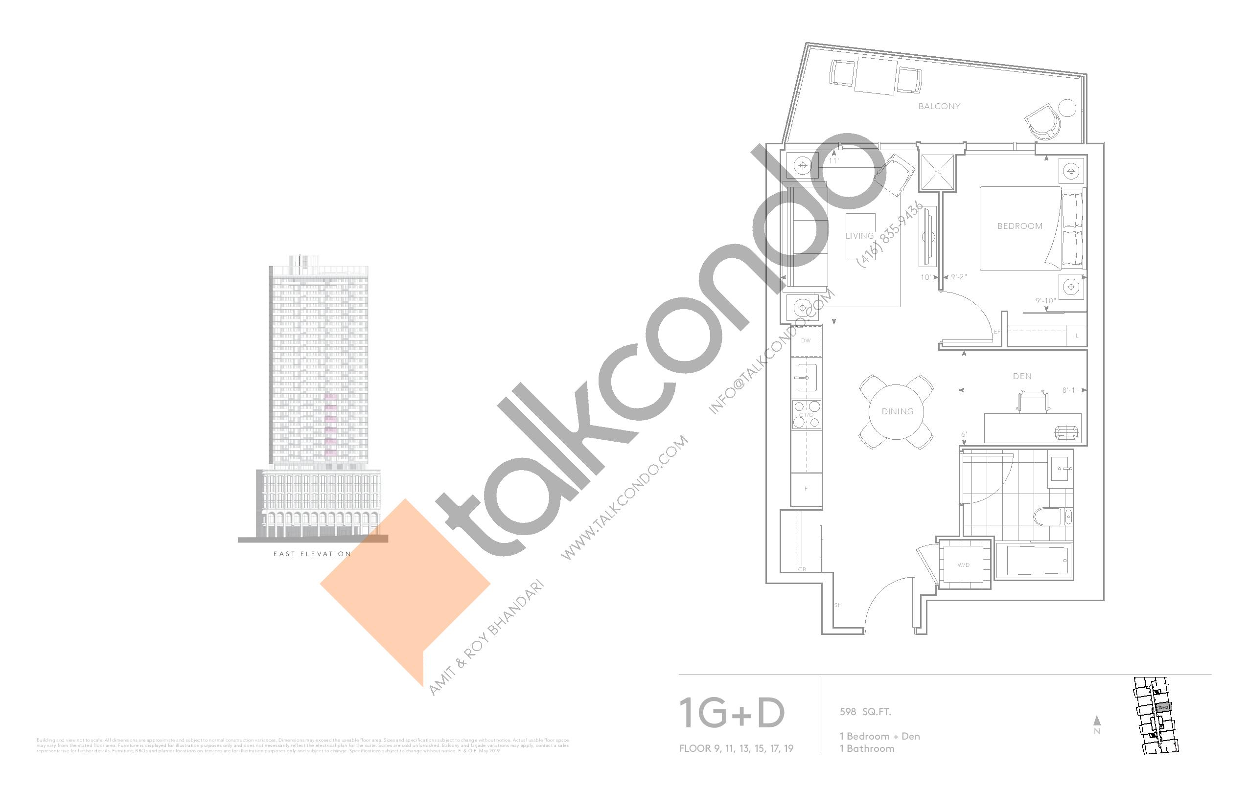 1G+D - Classic Series Floor Plan at Tridel at The Well Condos - 598 sq.ft