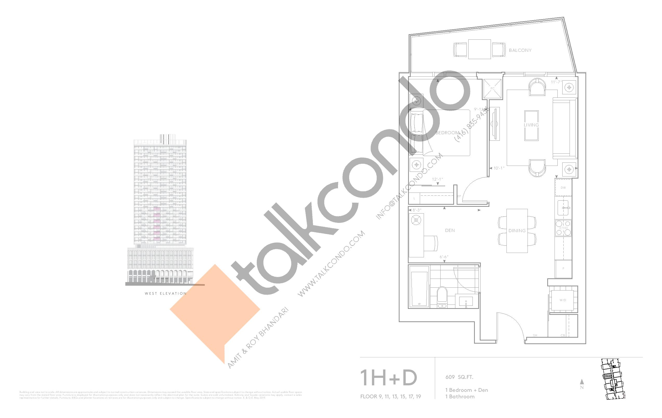 1H+D - Classic Series Floor Plan at Tridel at The Well Condos - 609 sq.ft