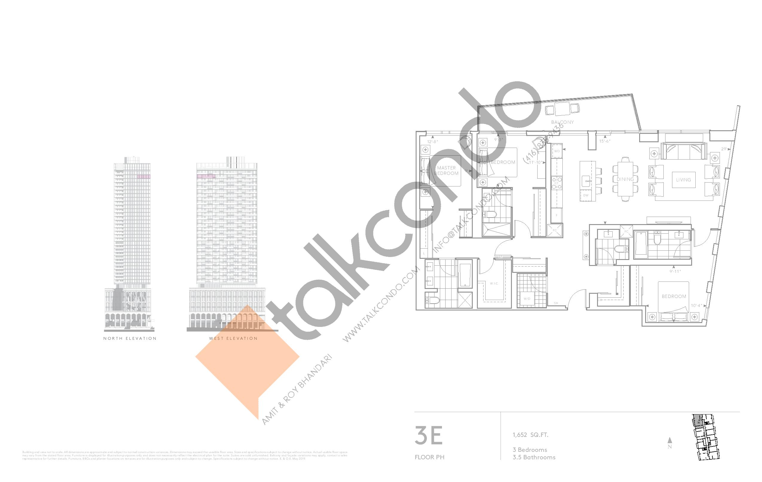 3E - Classic Series Floor Plan at Tridel at The Well Condos - 1652 sq.ft