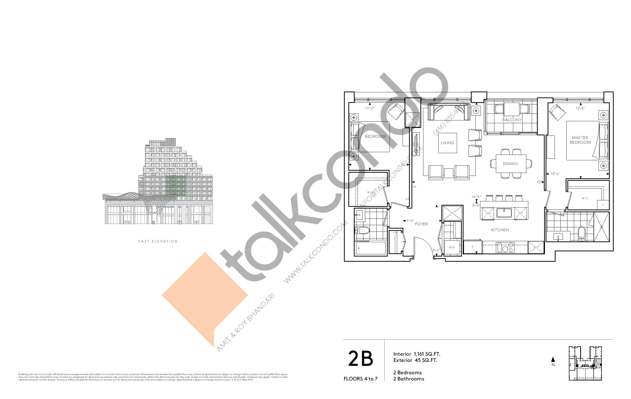 2B - Signature Series Floor Plan at Tridel at The Well Condos - 1161 sq.ft