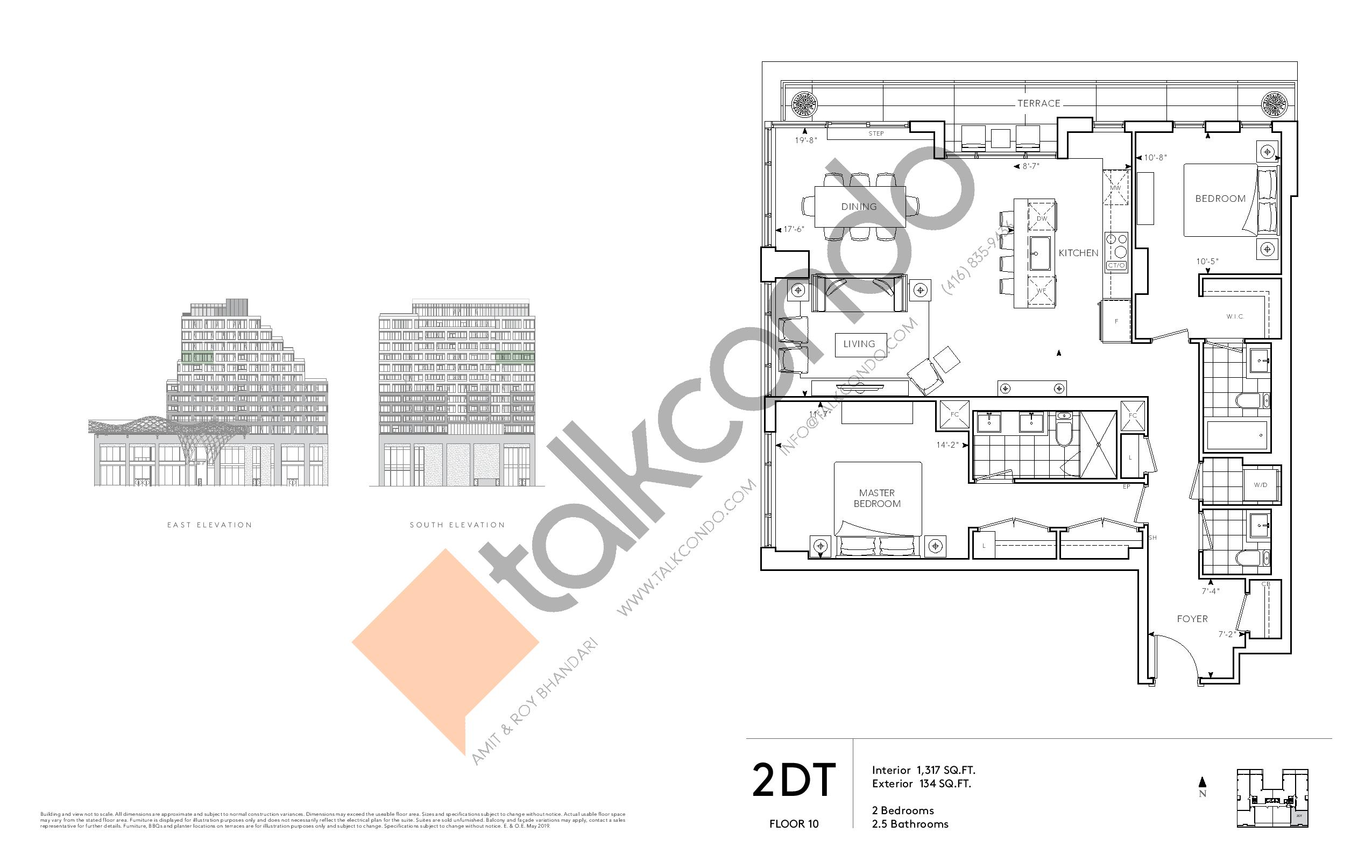 2DT - Signature Series Floor Plan at Tridel at The Well Condos - 1317 sq.ft
