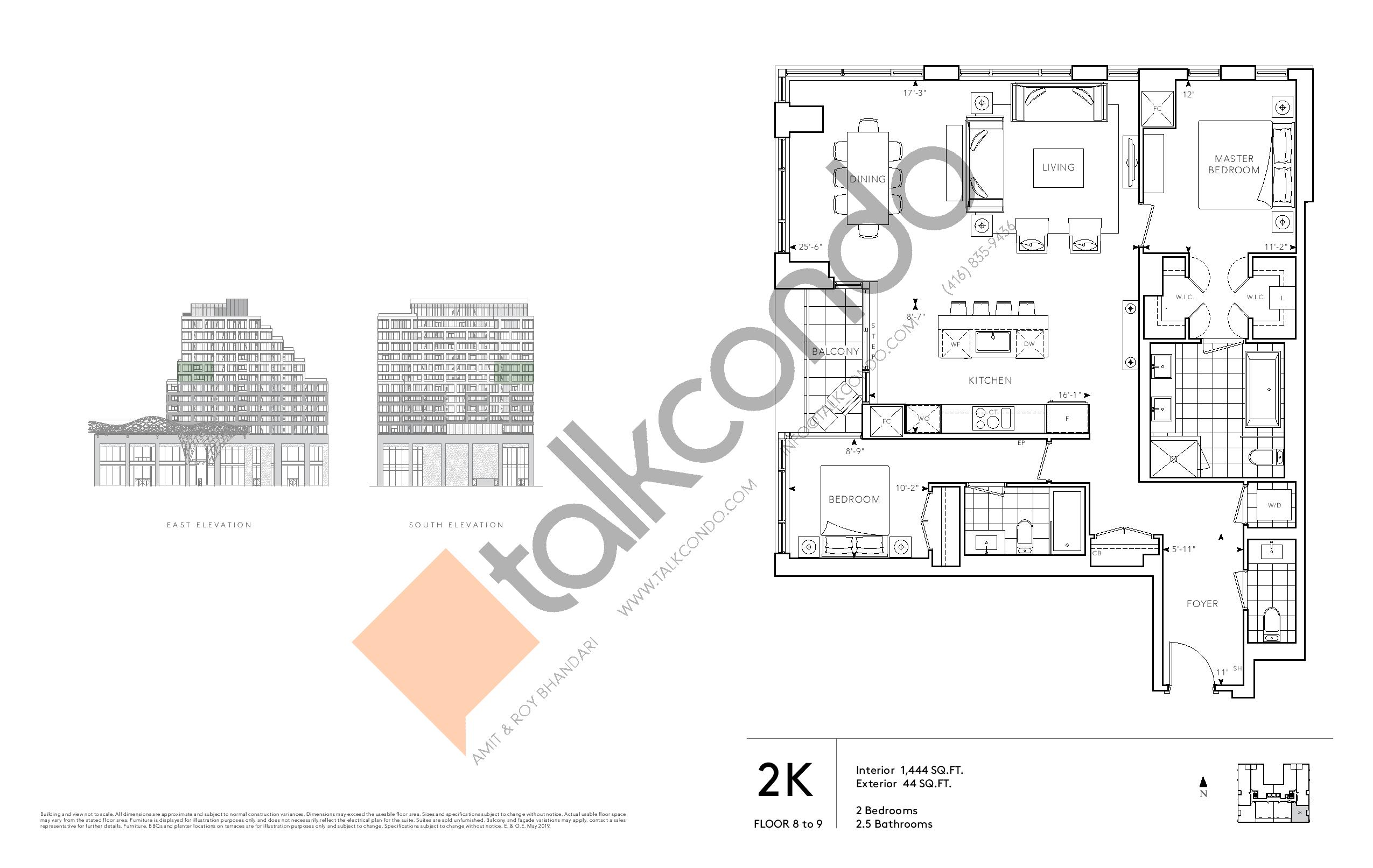 2K - Signature Series Floor Plan at Tridel at The Well Condos - 1444 sq.ft