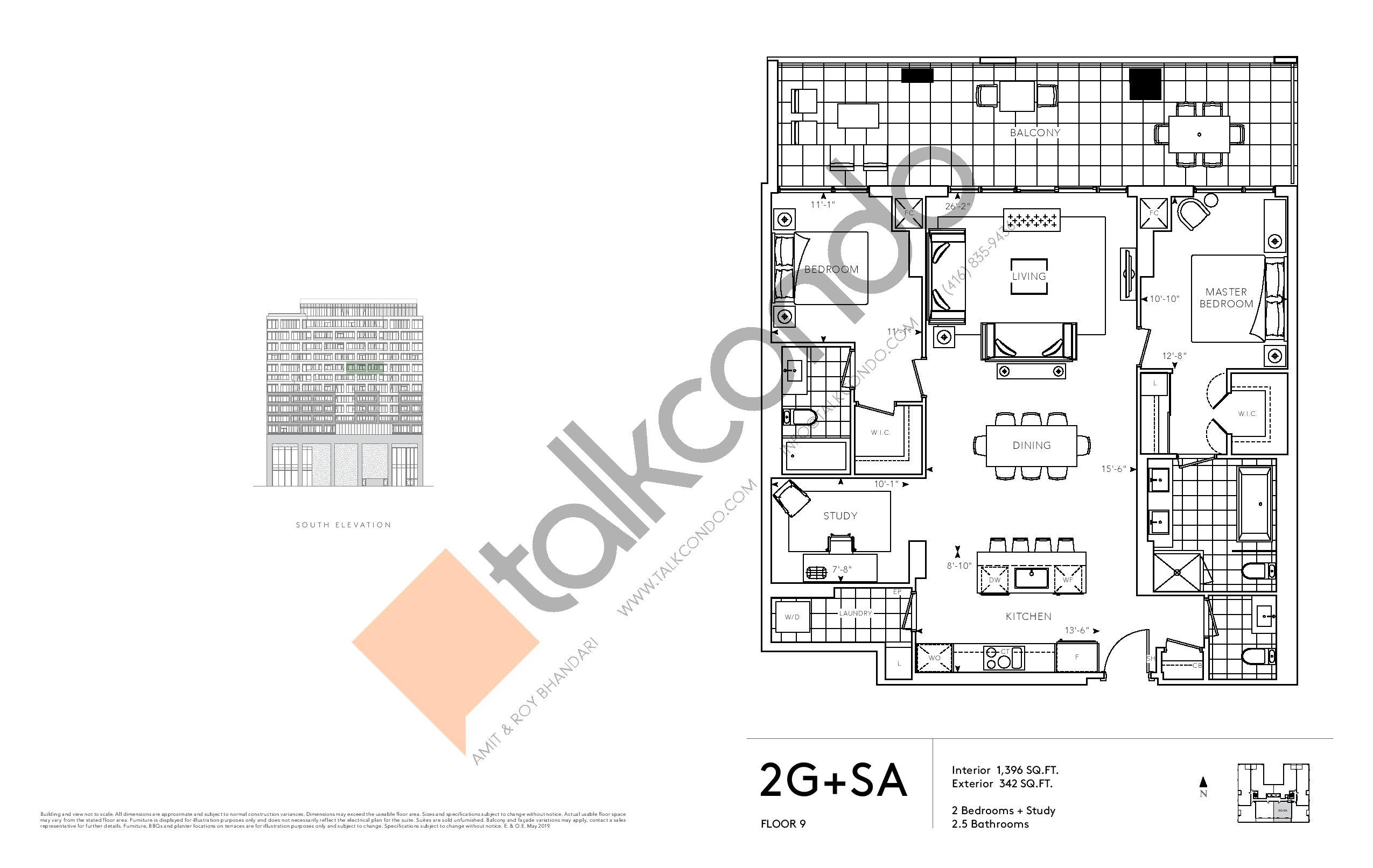 2G+SA - Signature Series Floor Plan at Tridel at The Well Condos - 1396 sq.ft