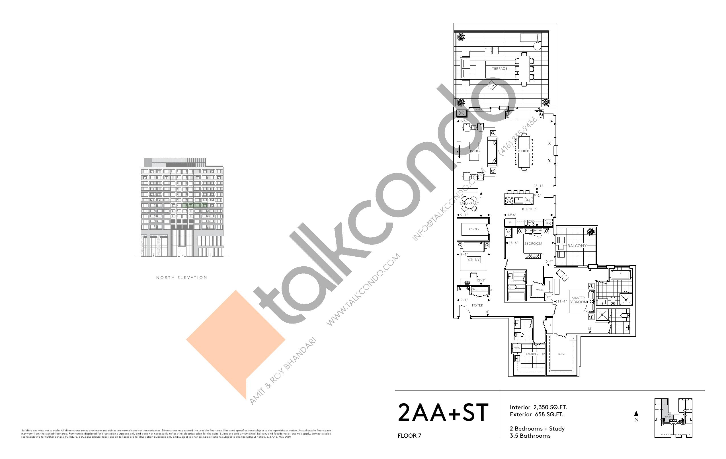 2AA+ST - Signature Series Floor Plan at Tridel at The Well Condos - 2350 sq.ft
