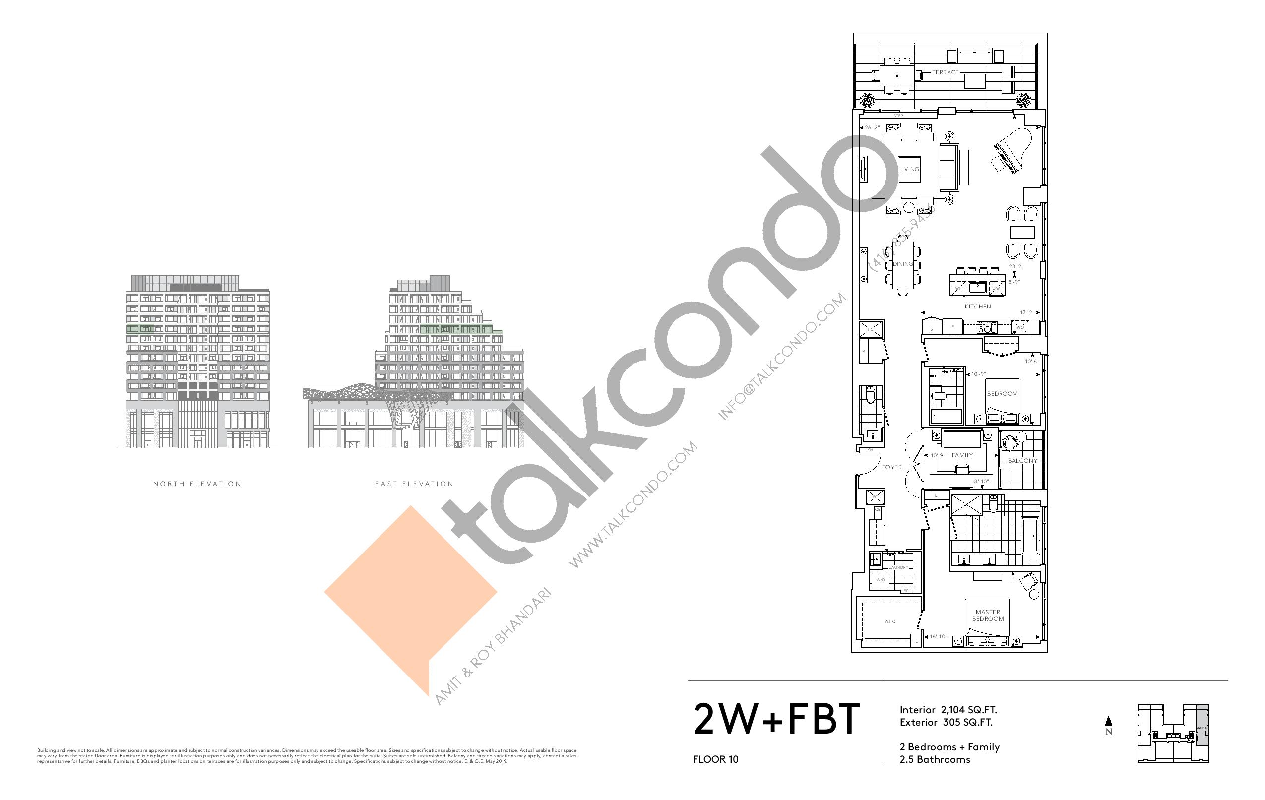 2W+FBT - Signature Series Floor Plan at Tridel at The Well Condos - 2104 sq.ft