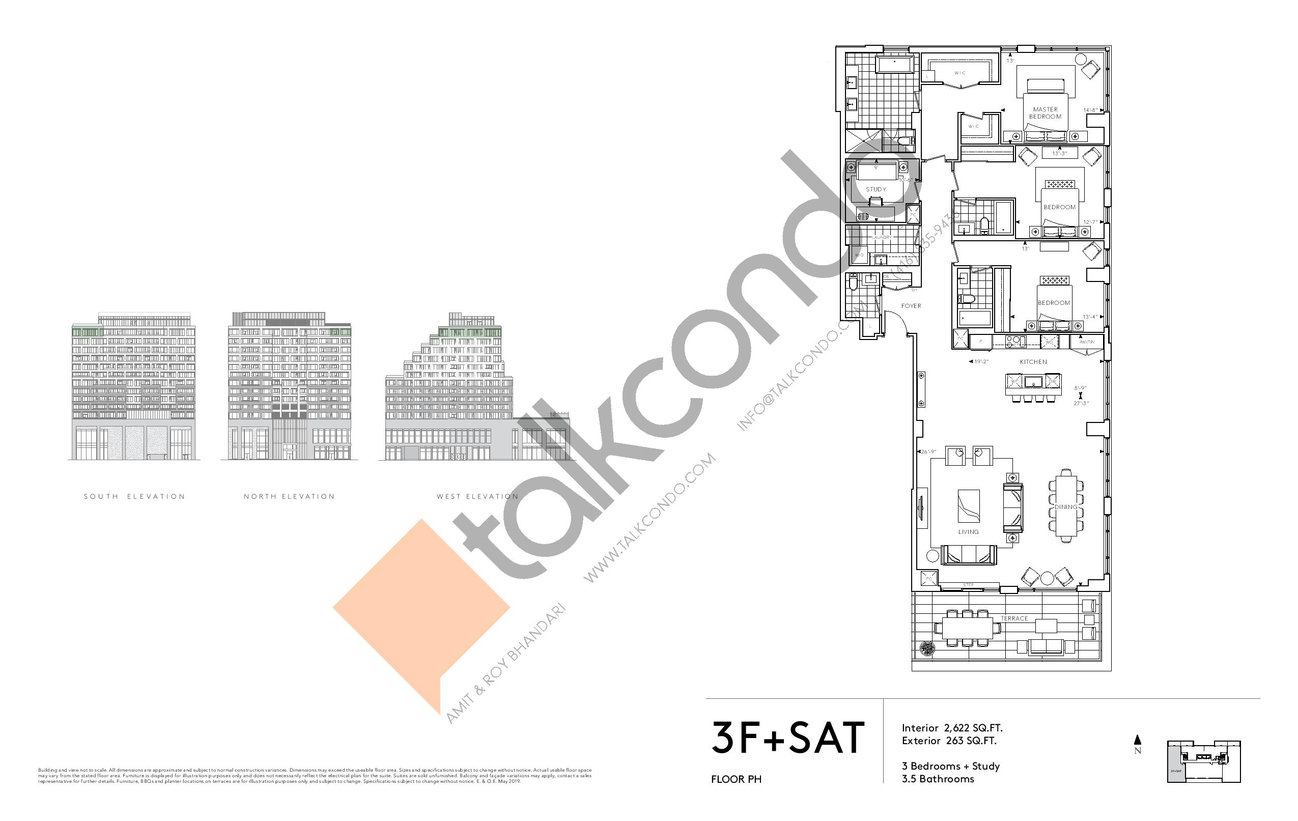 3F+SAT - Signature Series Floor Plan at Tridel at The Well Condos - 2622 sq.ft