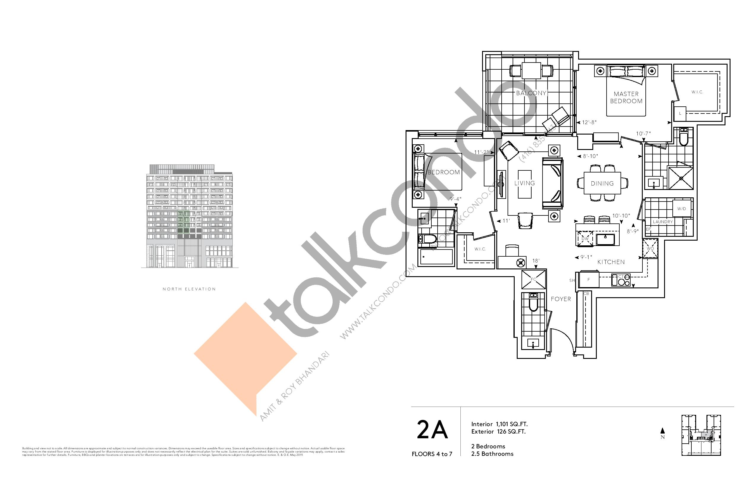 2A - Signature Series Floor Plan at Tridel at The Well Condos - 1101 sq.ft