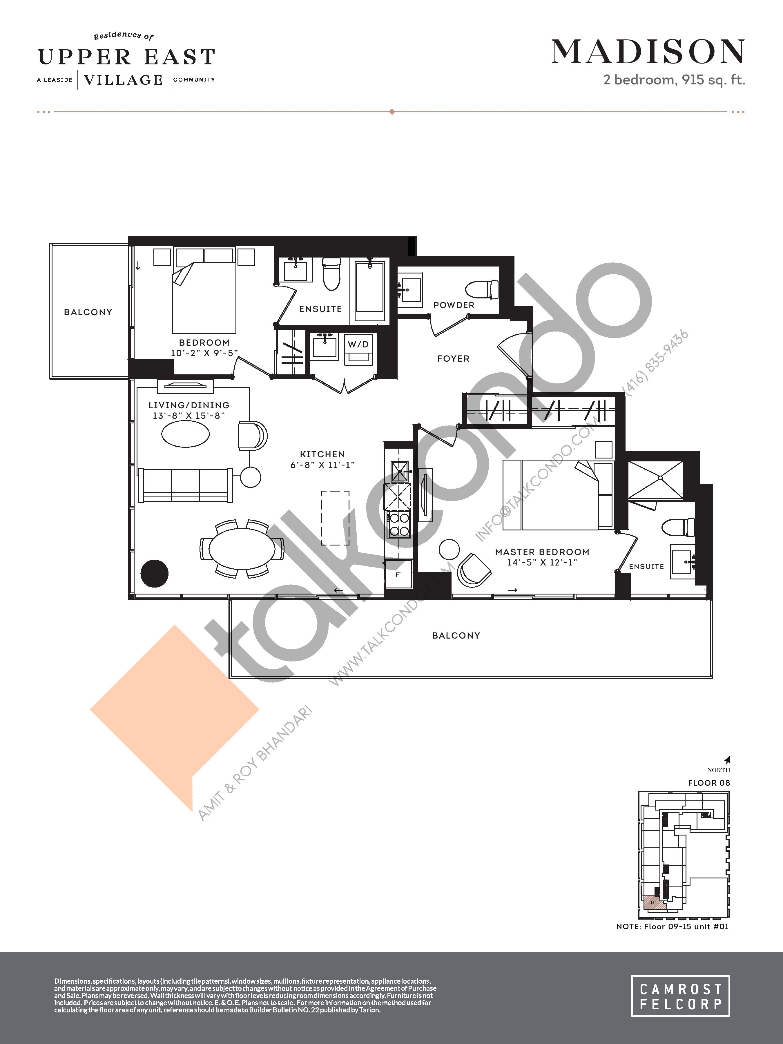 Madison (Tower Suites) Floor Plan at Upper East Village Condos - 980 sq.ft