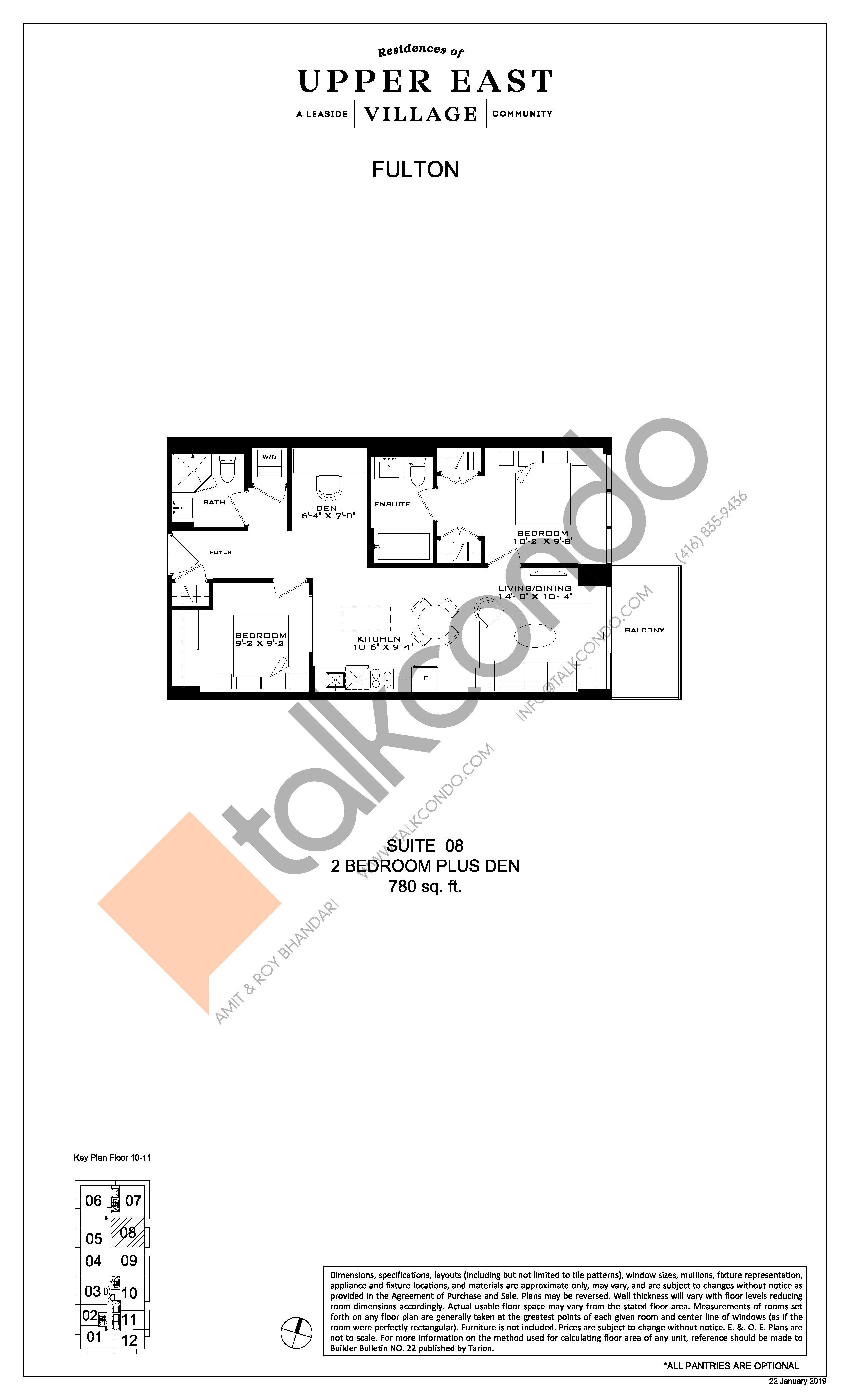 Fulton Floor Plan at Upper East Village Condos - 780 sq.ft