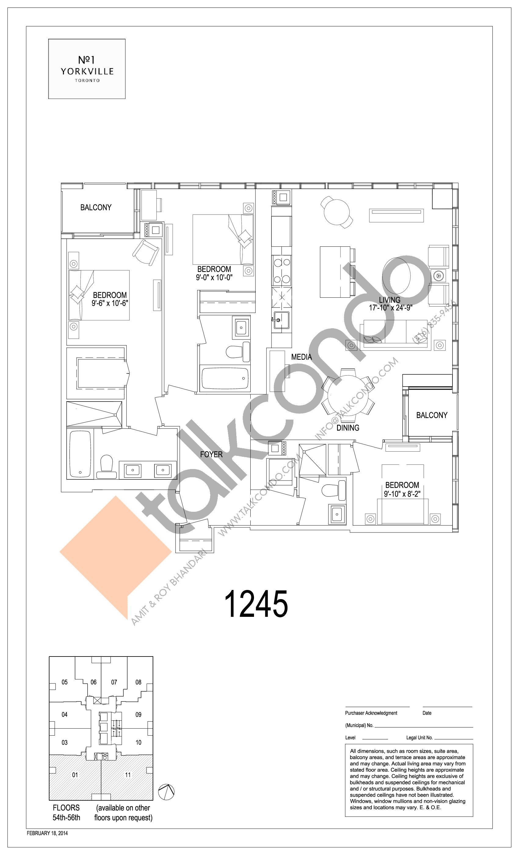 1245 Floor Plan at 1 Yorkville Condos - 1245 sq.ft