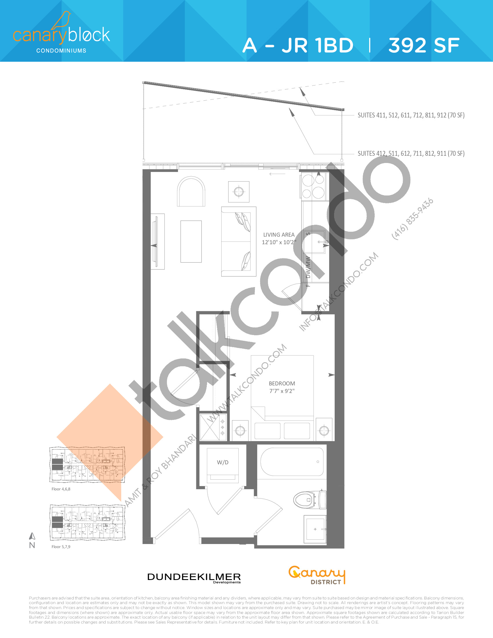A - JR 1BD Floor Plan at Canary Block Condos - 392 sq.ft