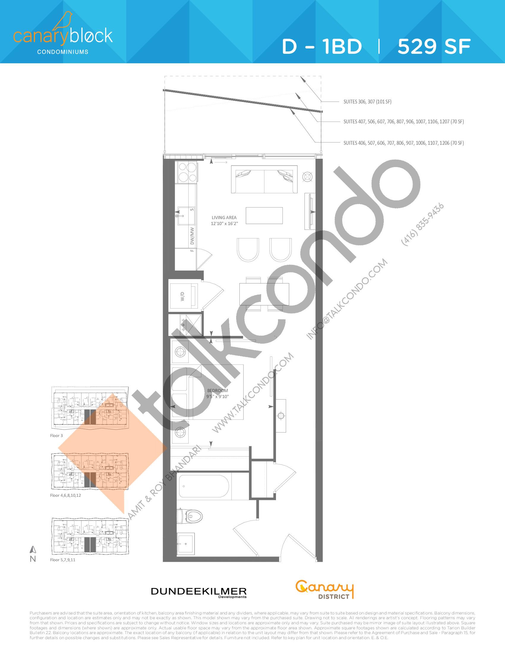 D - 1BD Floor Plan at Canary Block Condos - 529 sq.ft