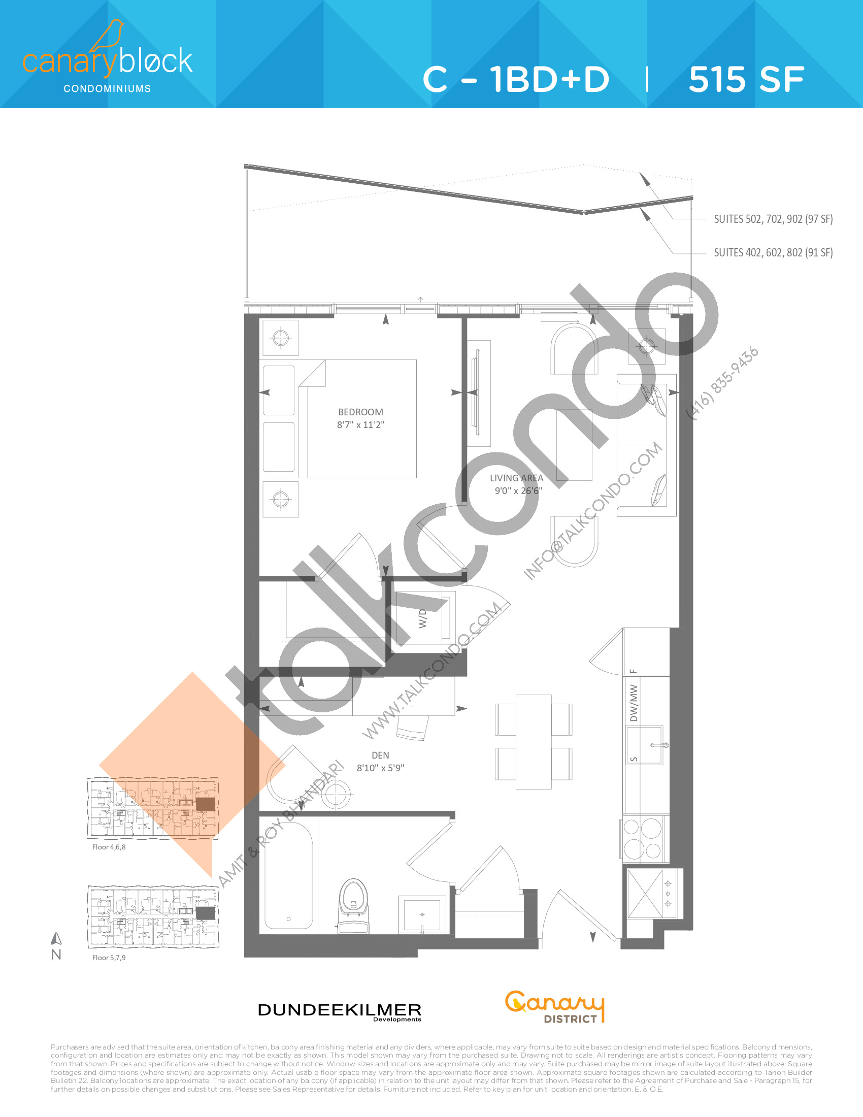 C - 1BD+D Floor Plan at Canary Block Condos - 515 sq.ft