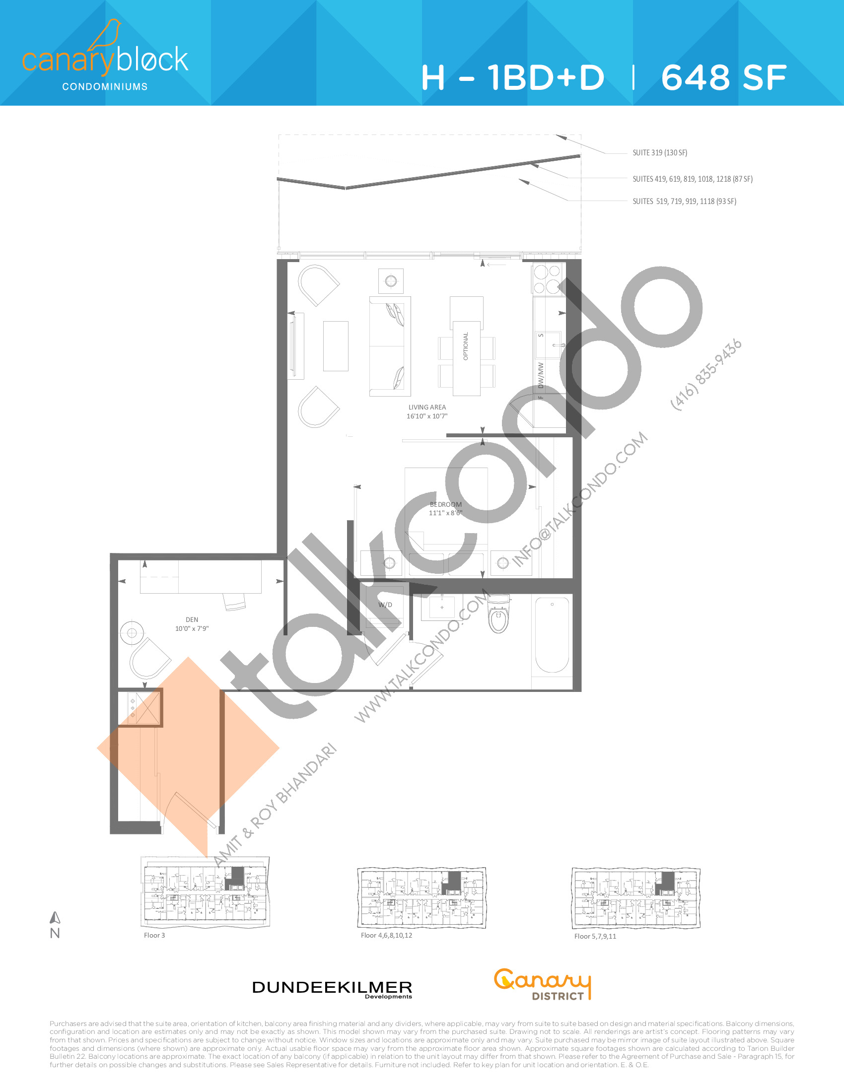 H - 1BD+D Floor Plan at Canary Block Condos - 648 sq.ft