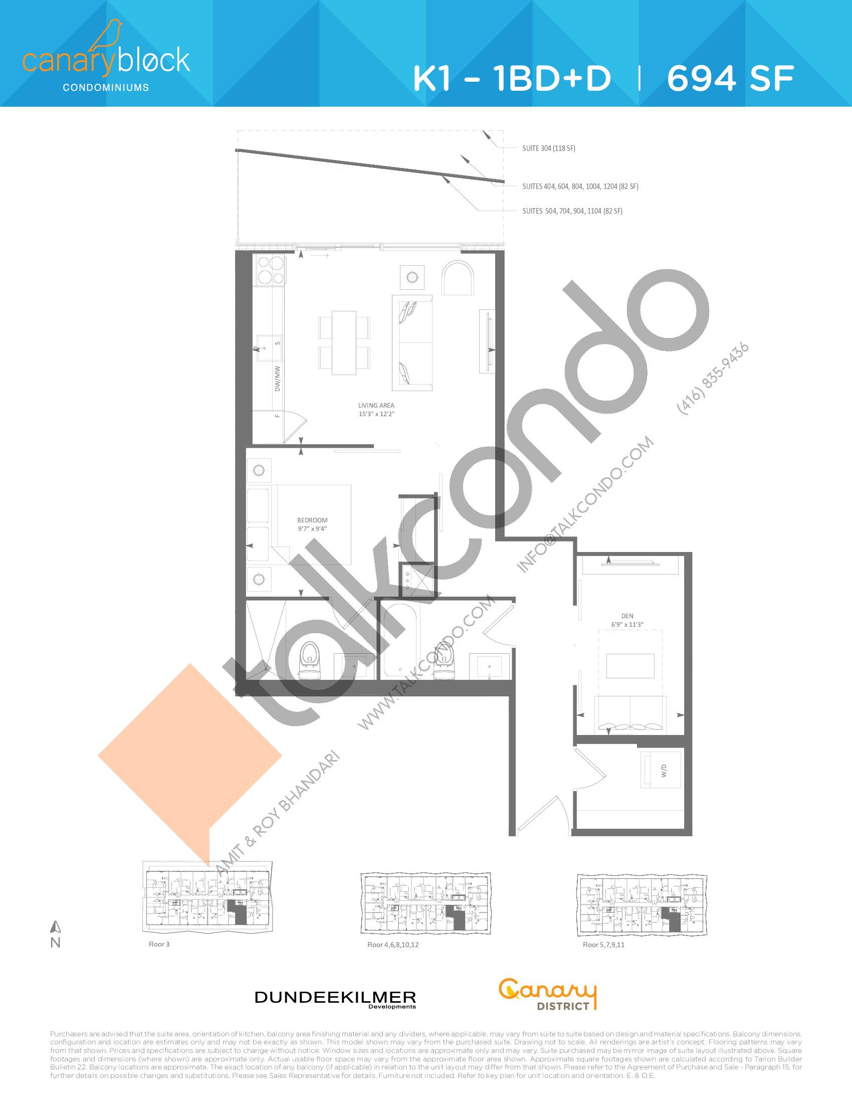 K1 - 1BD+D Floor Plan at Canary Block Condos - 694 sq.ft