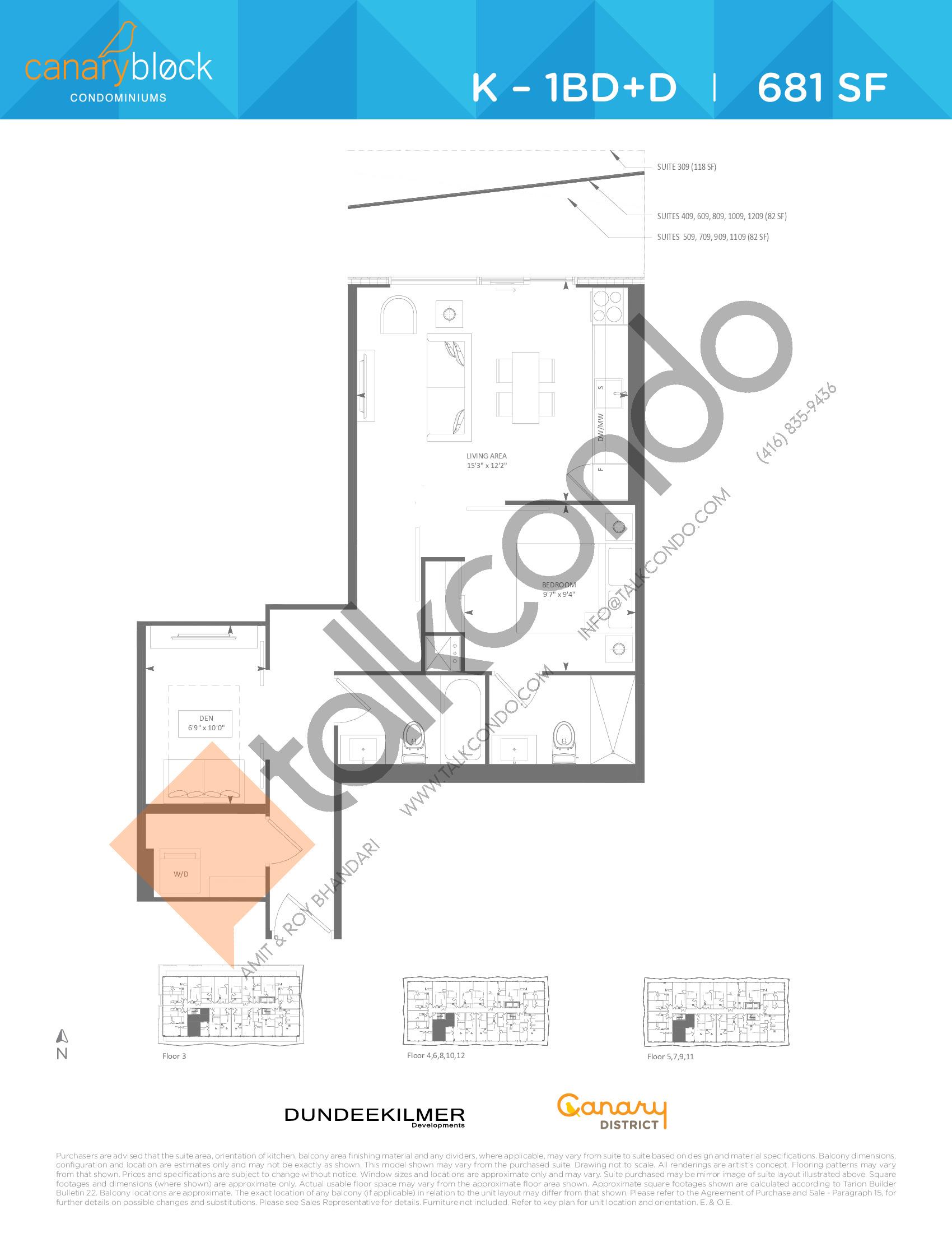 K - 1BD+D Floor Plan at Canary Block Condos - 681 sq.ft