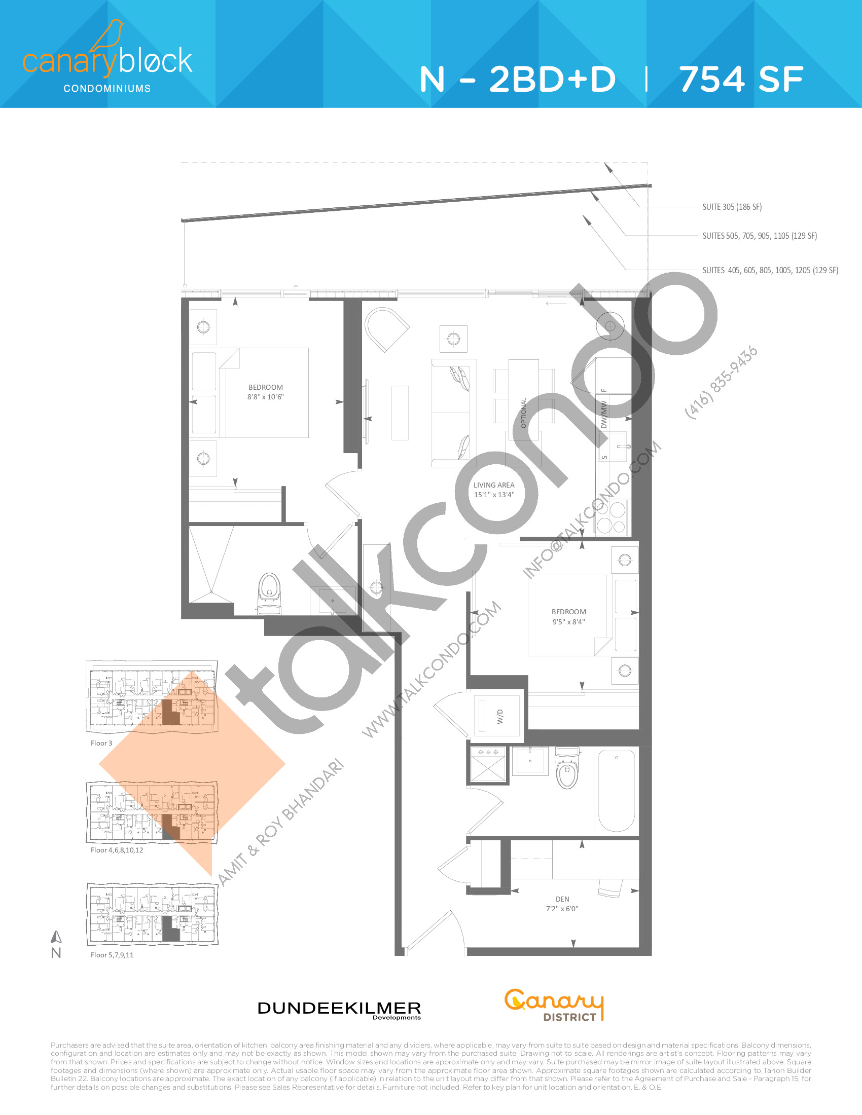 N - 2BD+D Floor Plan at Canary Block Condos - 754 sq.ft