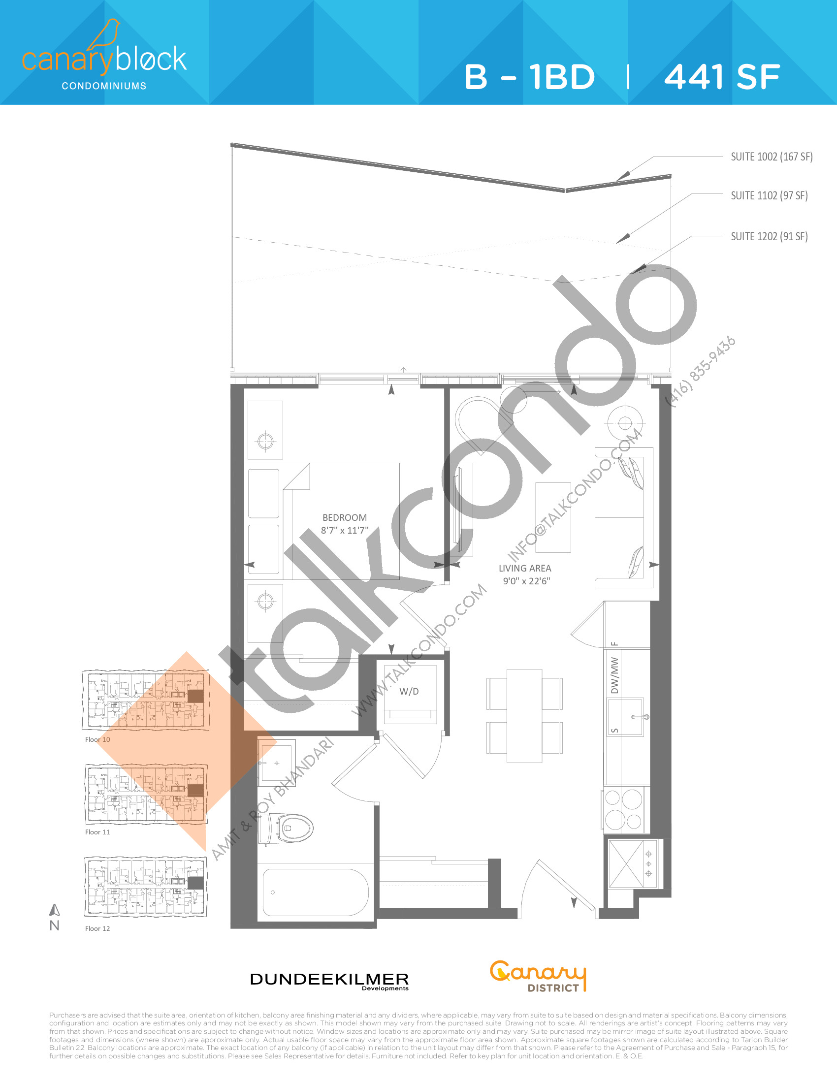 B - 1BD Floor Plan at Canary Block Condos - 441 sq.ft
