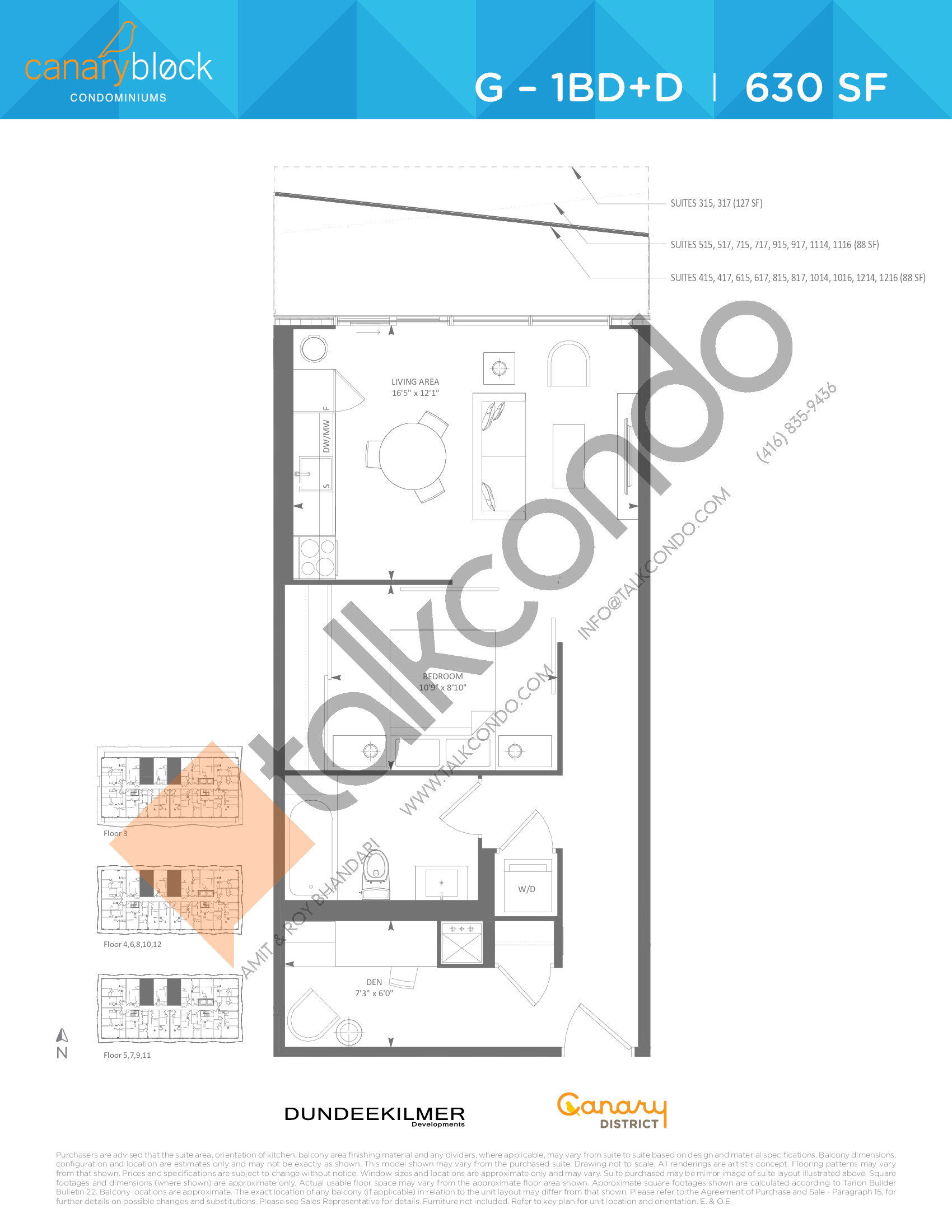 G - 1BD+D Floor Plan at Canary Block Condos - 630 sq.ft