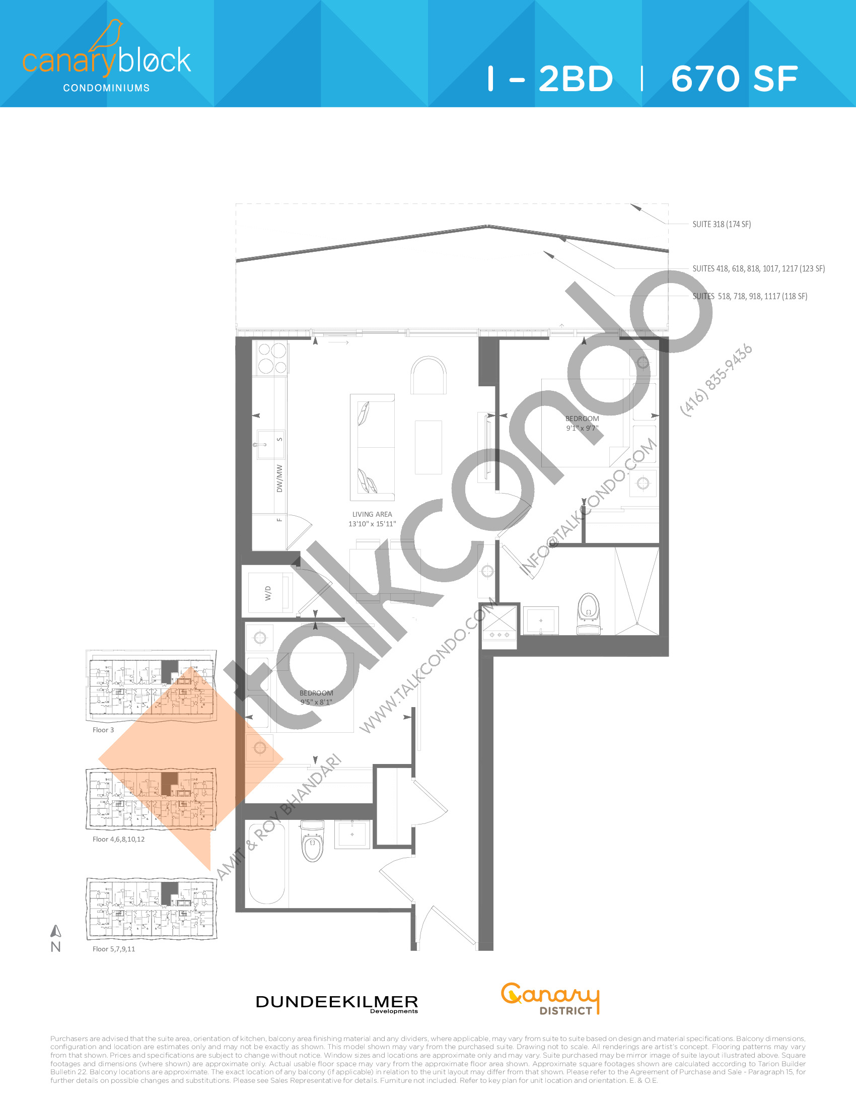 I - 2BD Floor Plan at Canary Block Condos - 670 sq.ft