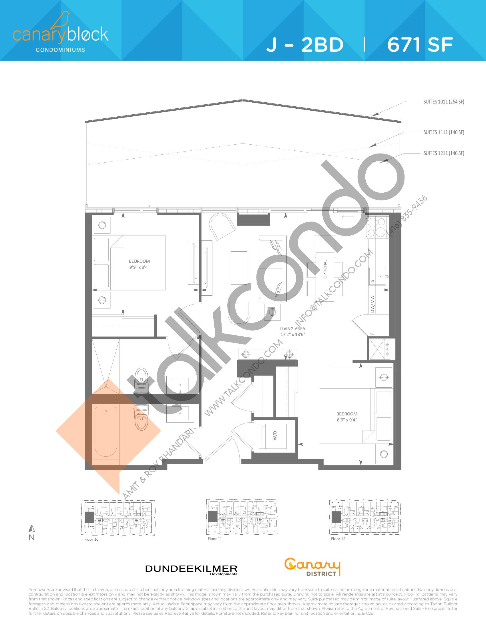 J - 2BD Floor Plan at Canary Block Condos - 671 sq.ft