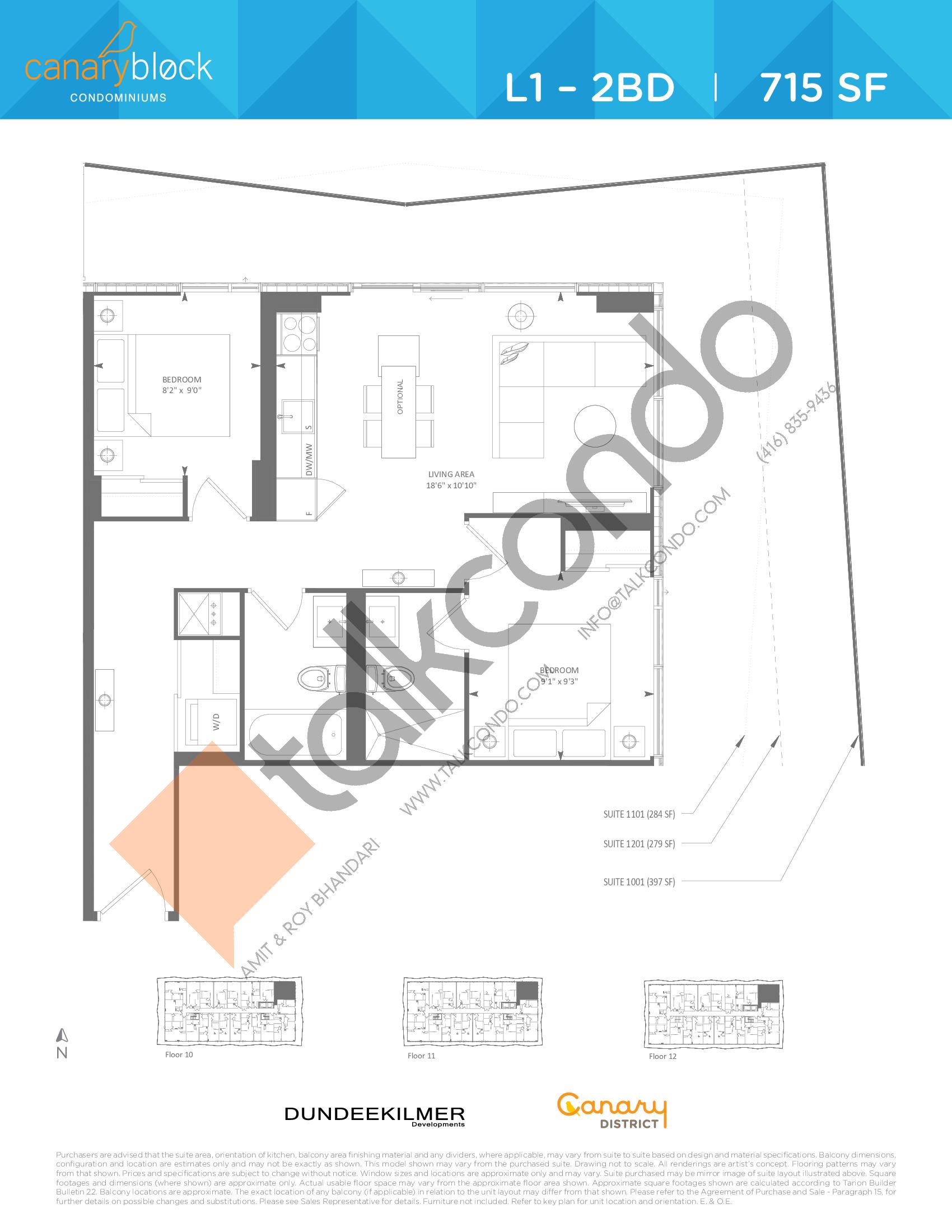 L1 - 2BD Floor Plan at Canary Block Condos - 715 sq.ft