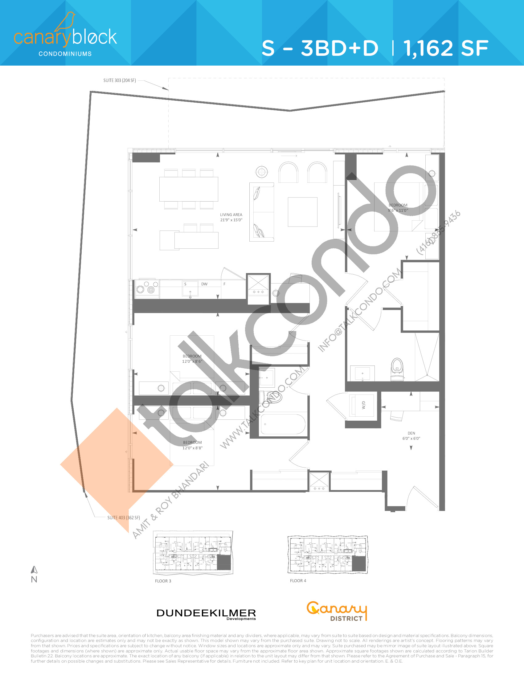 S - 3BD+D Floor Plan at Canary Block Condos - 1162 sq.ft