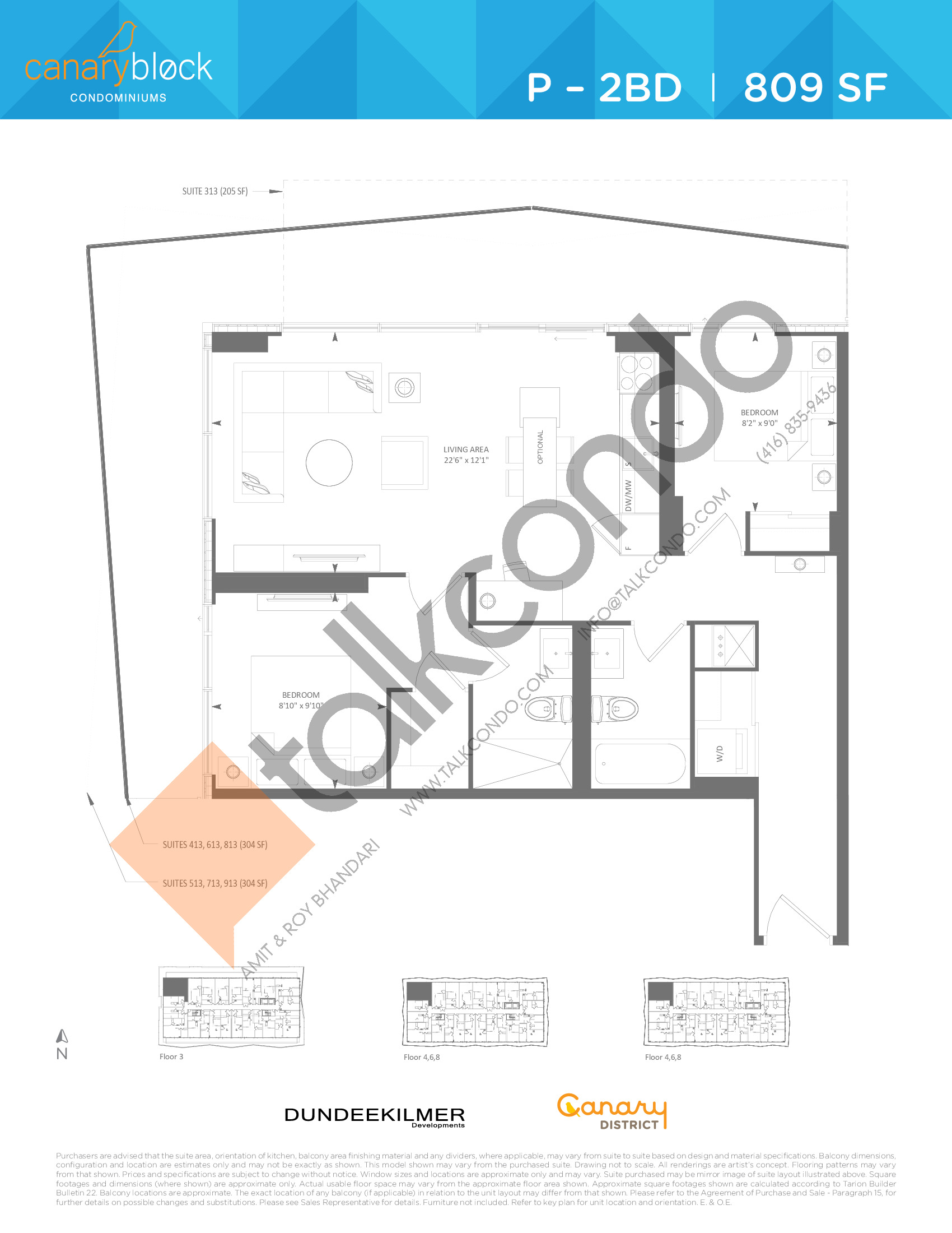 P - 2BD Floor Plan at Canary Block Condos - 809 sq.ft