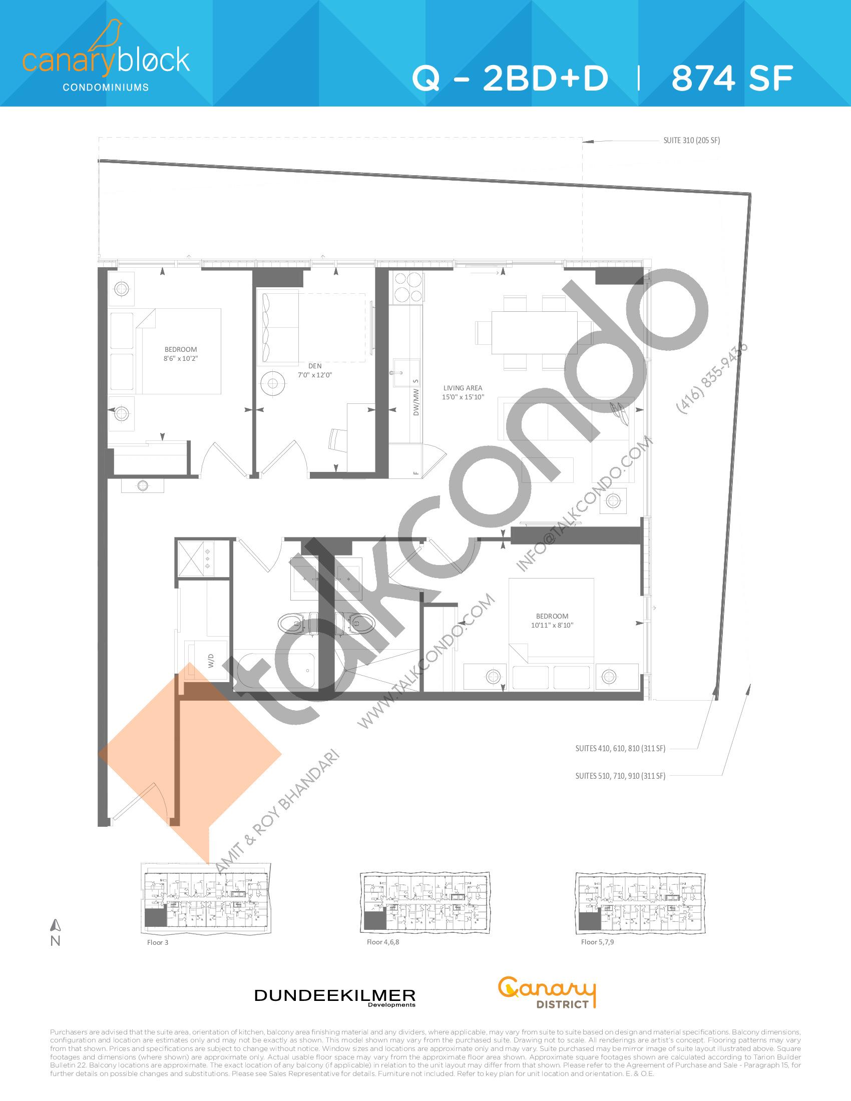 Q - 2BD+D Floor Plan at Canary Block Condos - 874 sq.ft