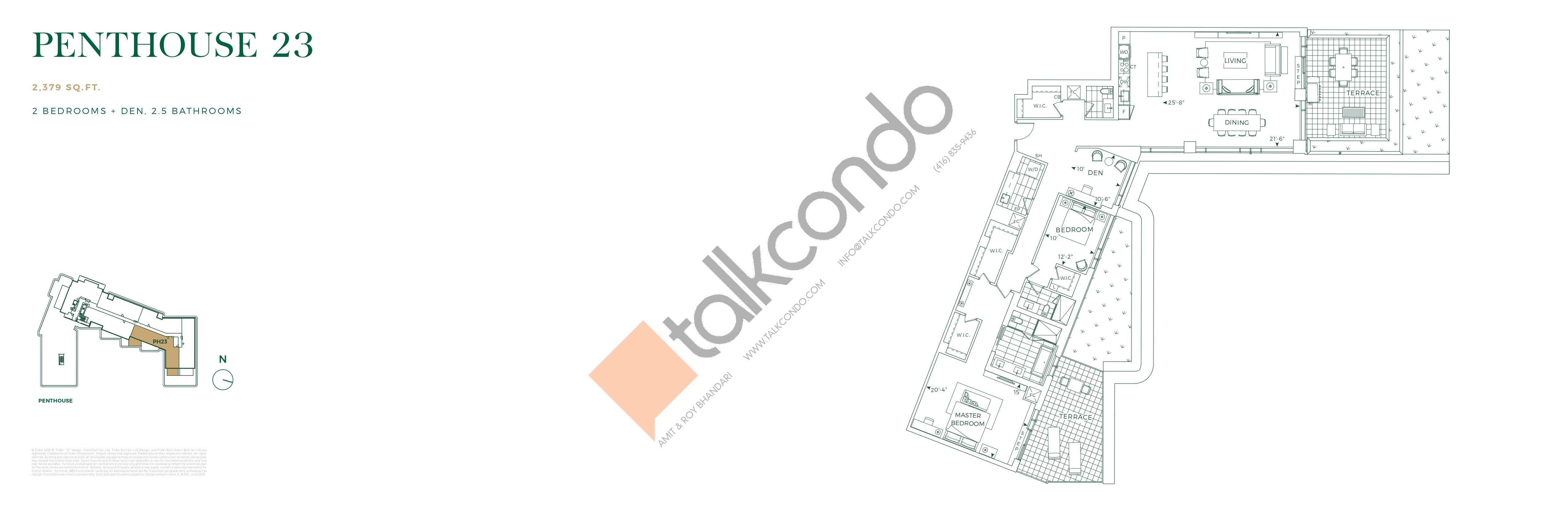 Penthouse 23 Floor Plan at Edenbridge on the Kingsway Condos - 2379 sq.ft