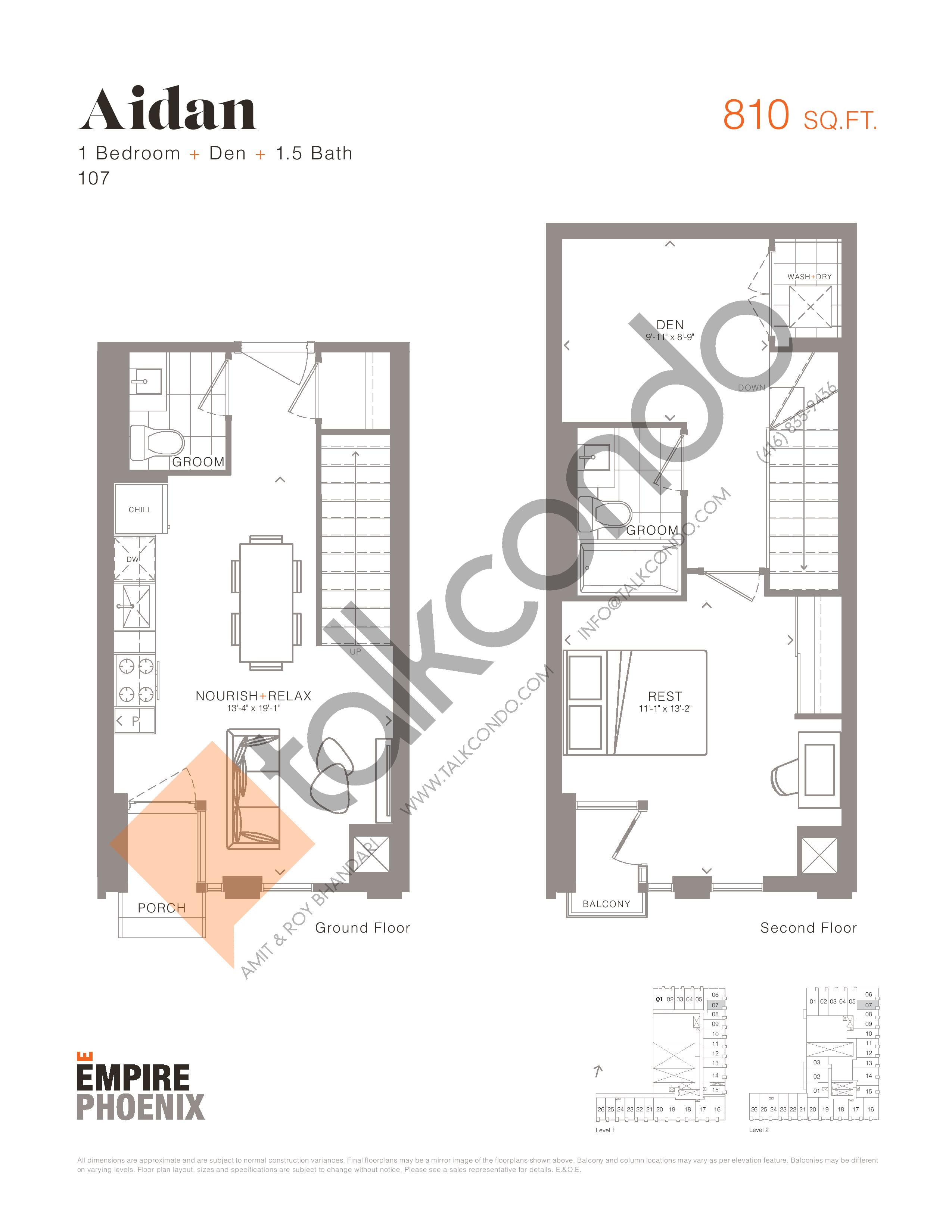 Aidan - Garden Suites Floor Plan at Empire Phoenix Condos - 810 sq.ft