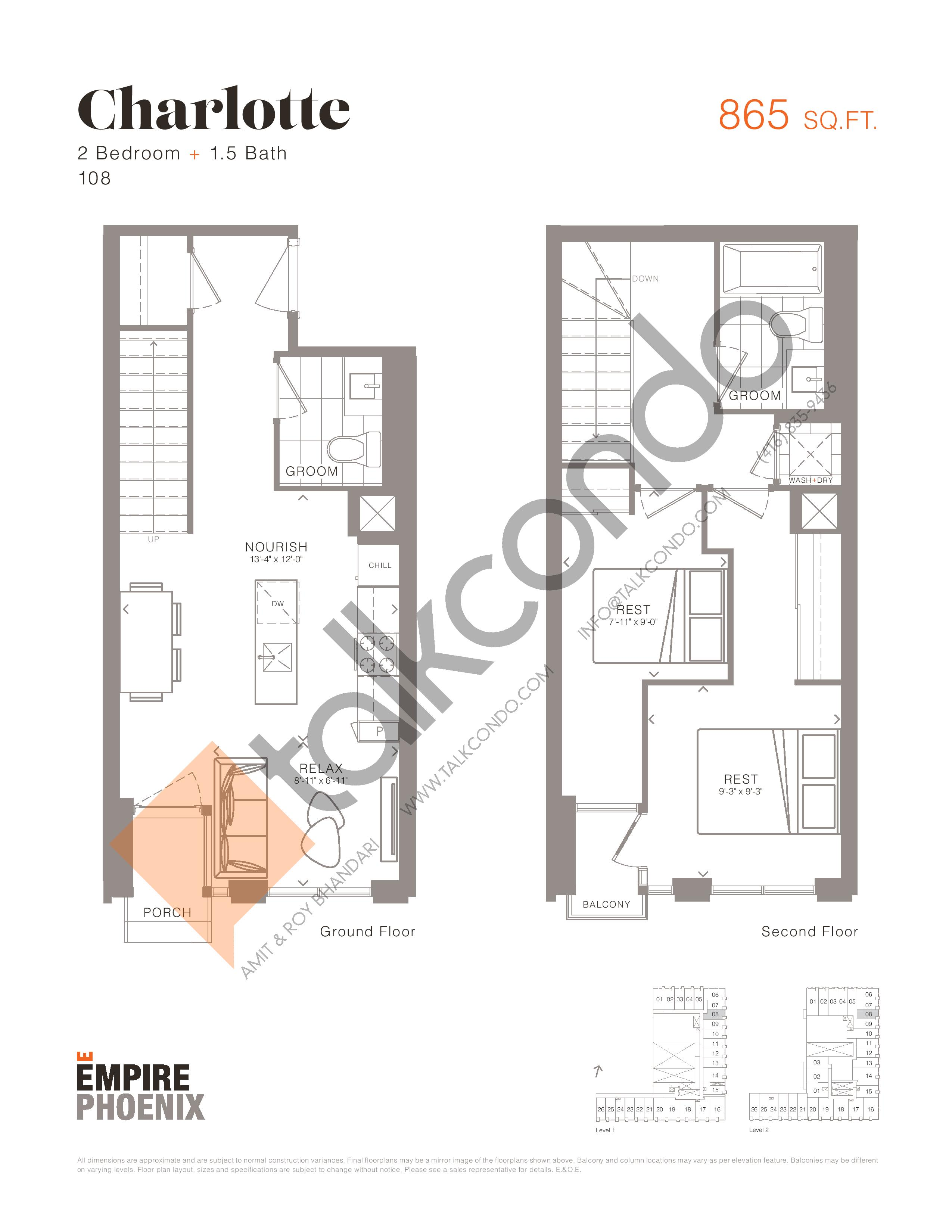Charlotte - Garden Suites Floor Plan at Empire Phoenix Condos - 865 sq.ft