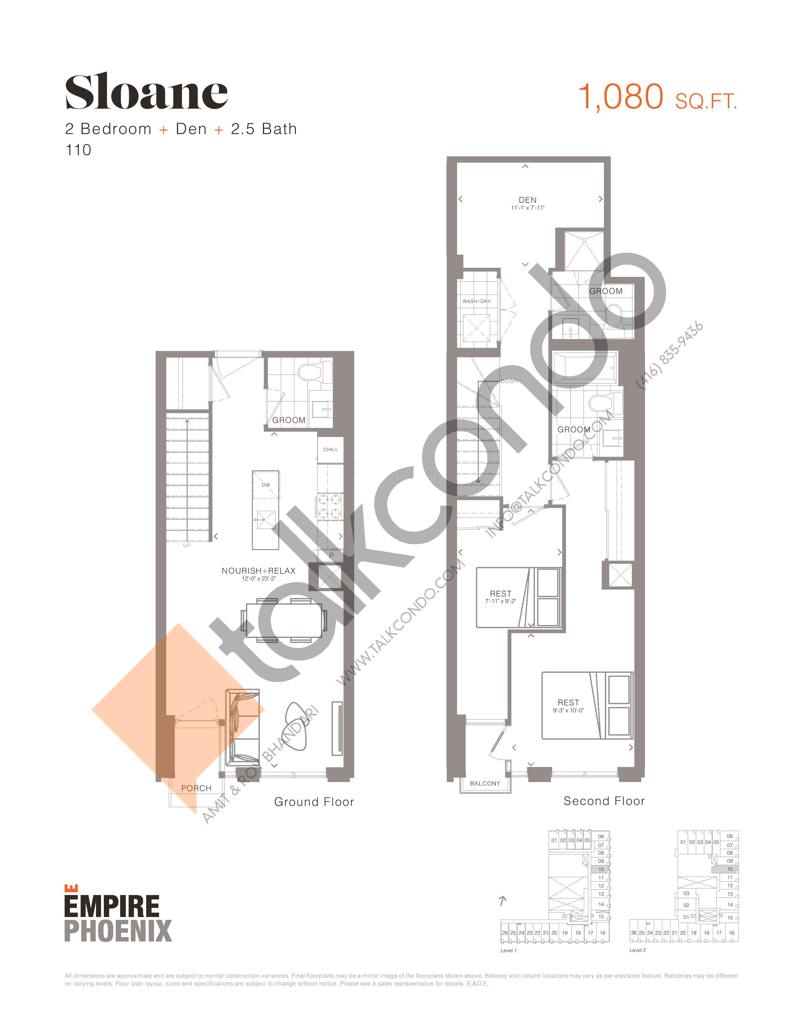 Sloane - Garden Suites Floor Plan at Empire Phoenix Condos - 1080 sq.ft