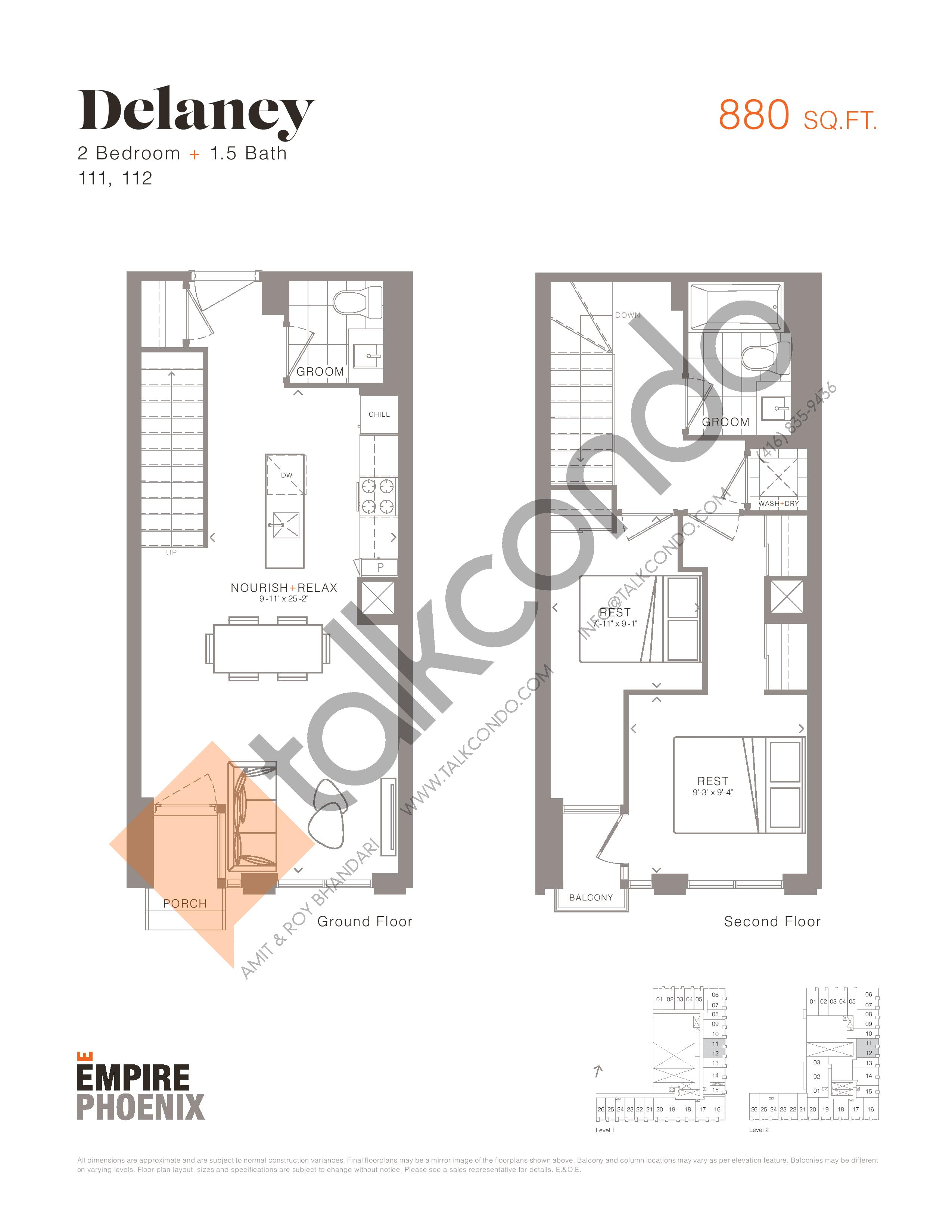 Delaney - Garden Suites Floor Plan at Empire Phoenix Condos - 880 sq.ft