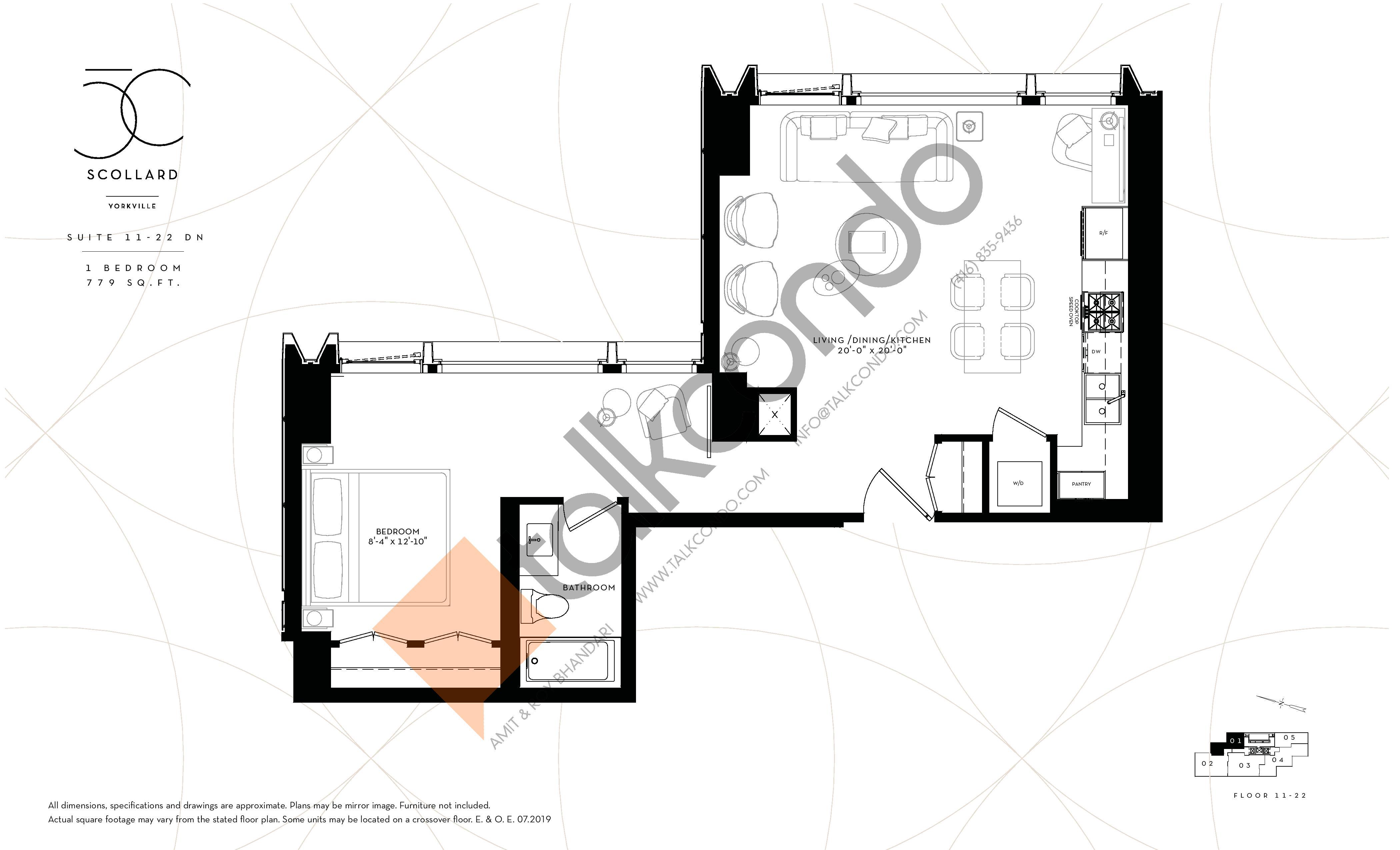 Suite 11-22 DN Floor Plan at Fifty Scollard Condos - 779 sq.ft