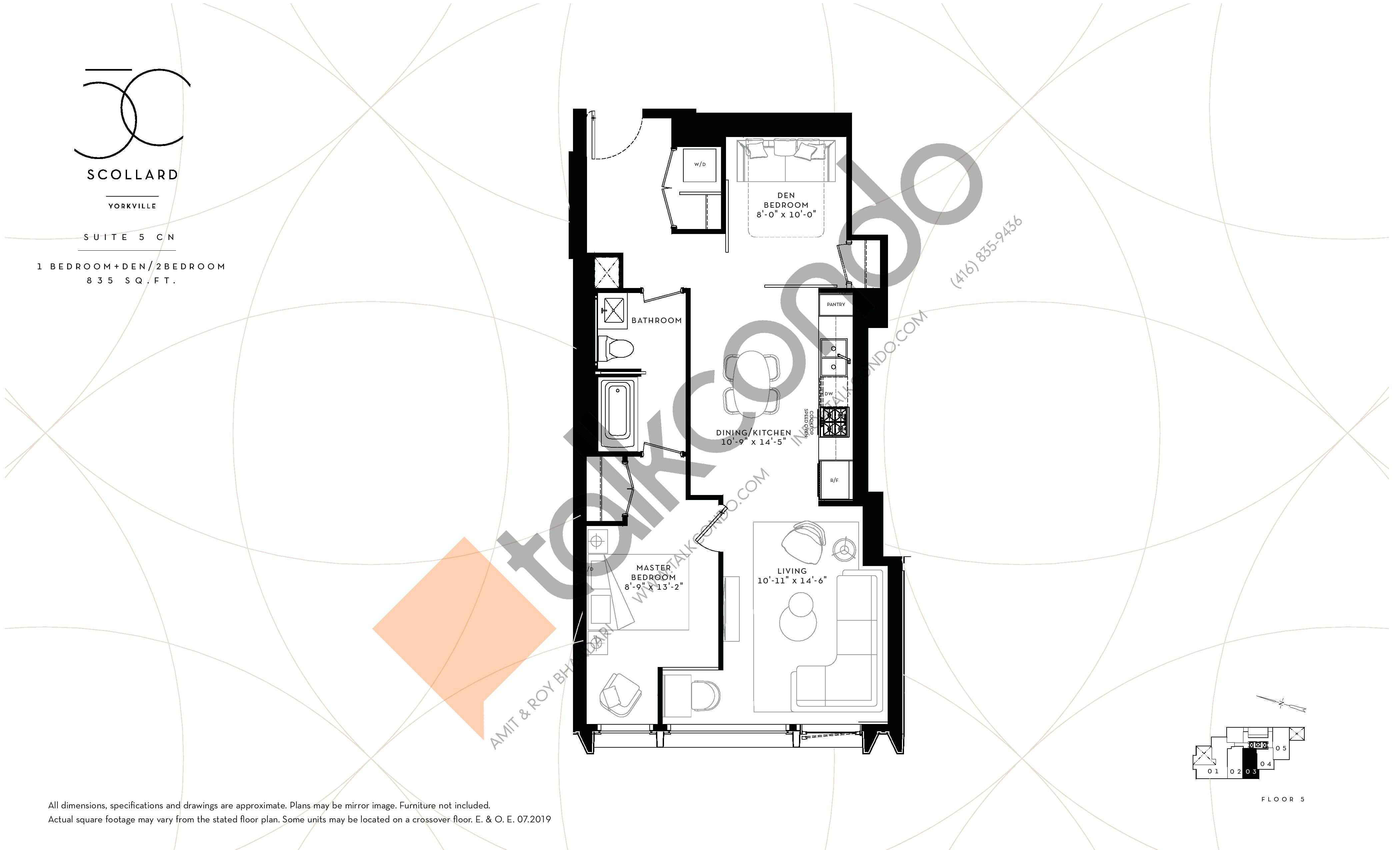 Suite 5 CN Floor Plan at Fifty Scollard Condos - 835 sq.ft