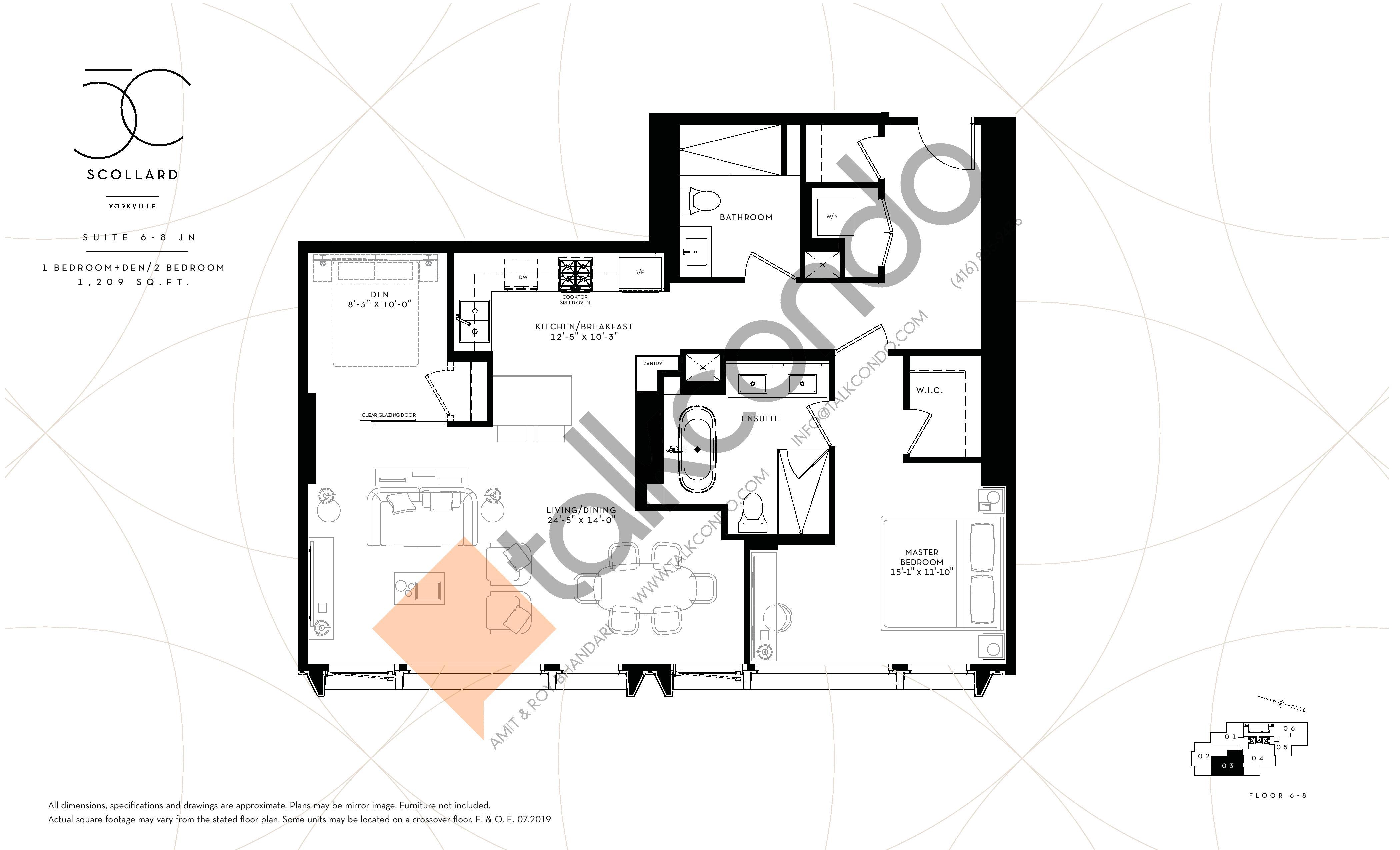 Suite 6-8 JN Floor Plan at Fifty Scollard Condos - 1209 sq.ft