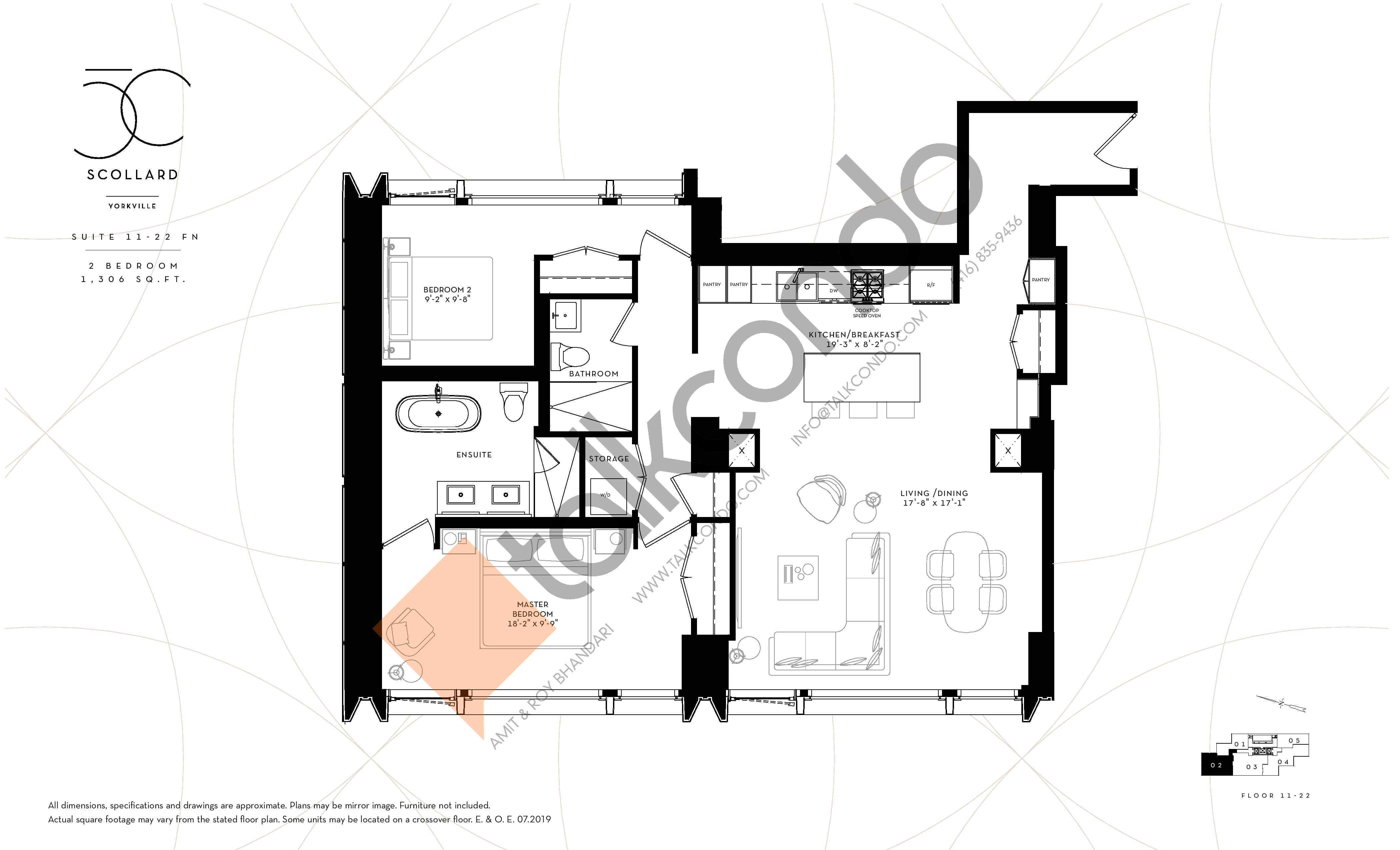 Suite 11-22 FN Floor Plan at Fifty Scollard Condos - 1306 sq.ft
