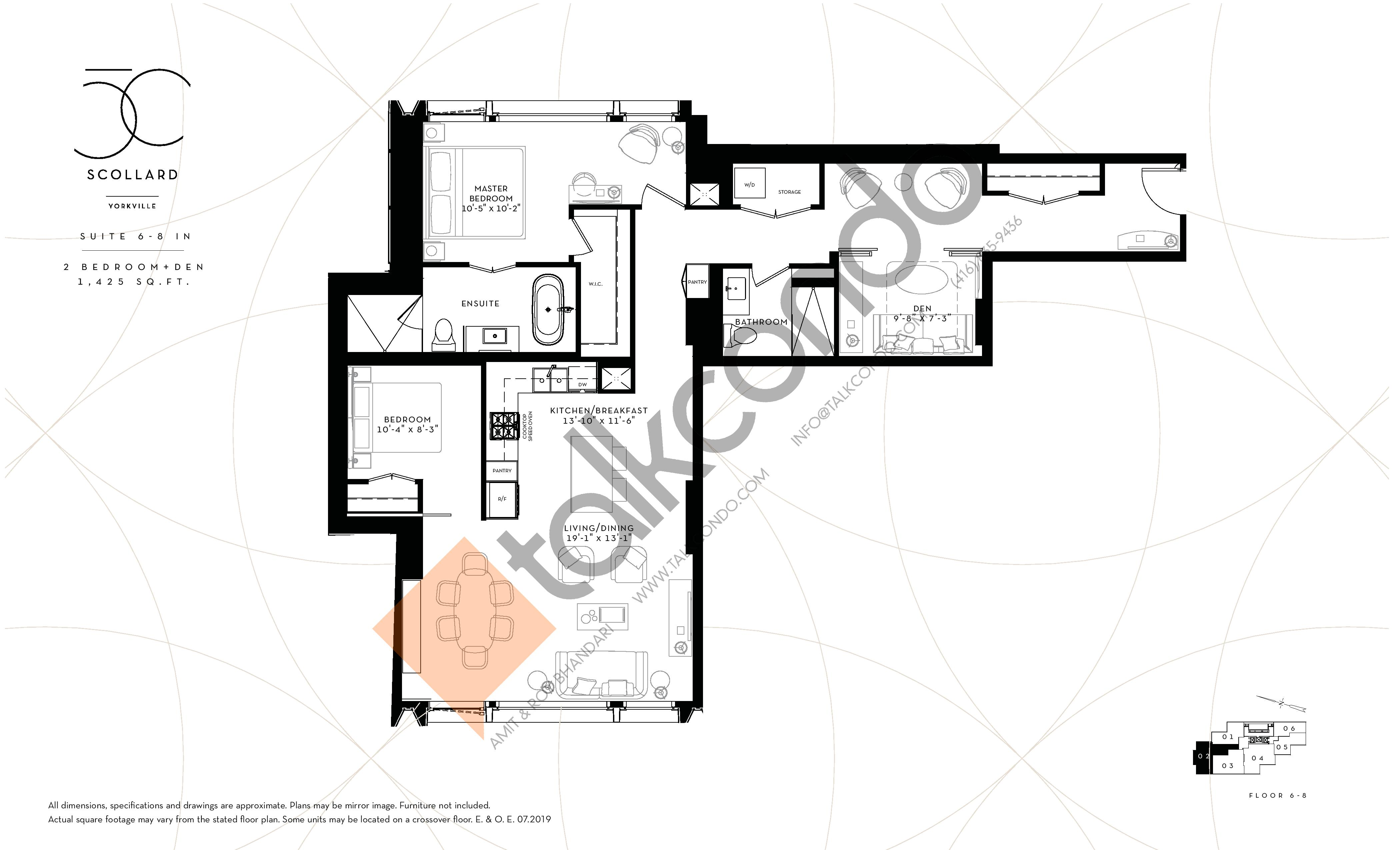 Suite 6-8 IN Floor Plan at Fifty Scollard Condos - 1425 sq.ft