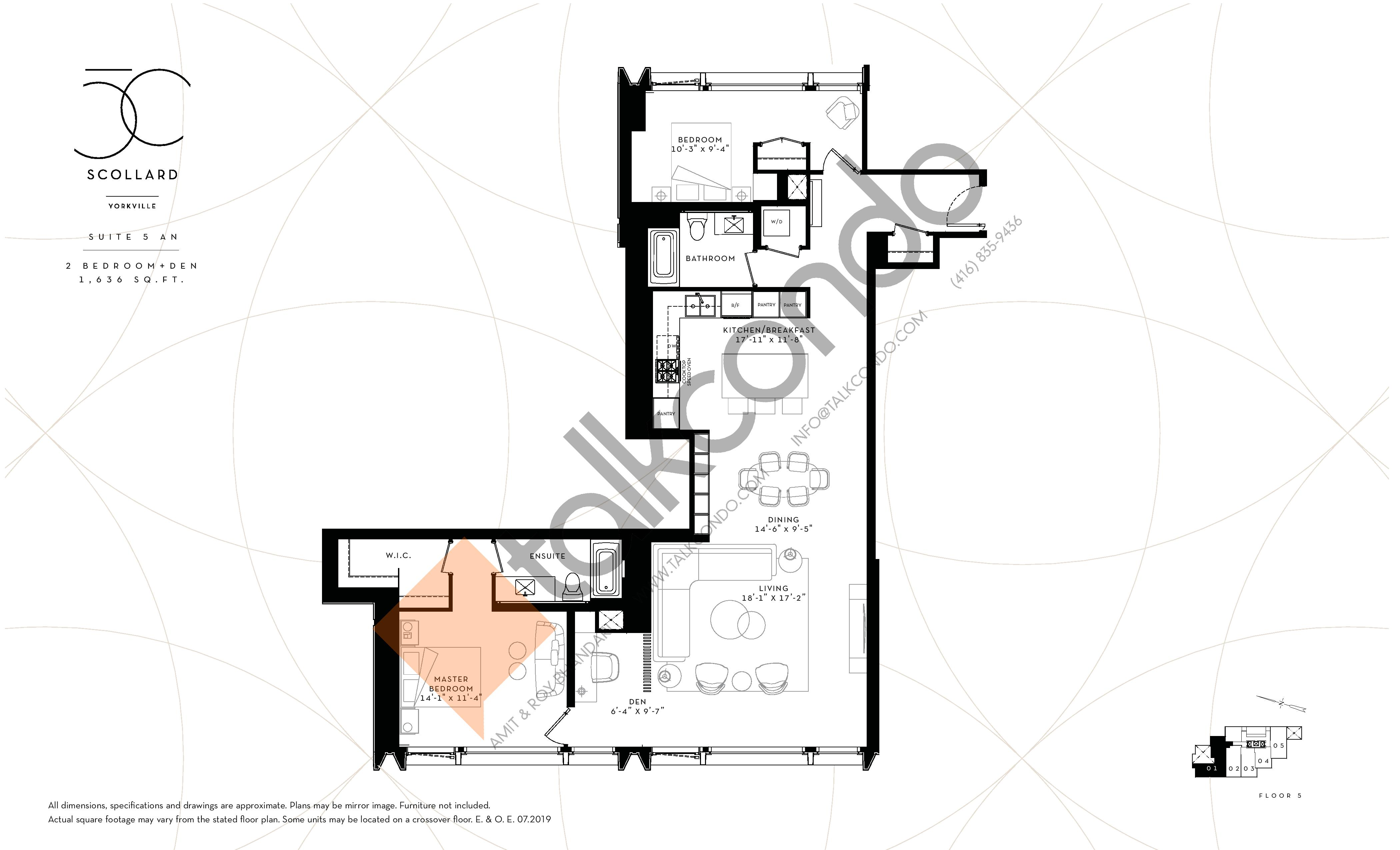 Suite 5 AN Floor Plan at Fifty Scollard Condos - 1636 sq.ft
