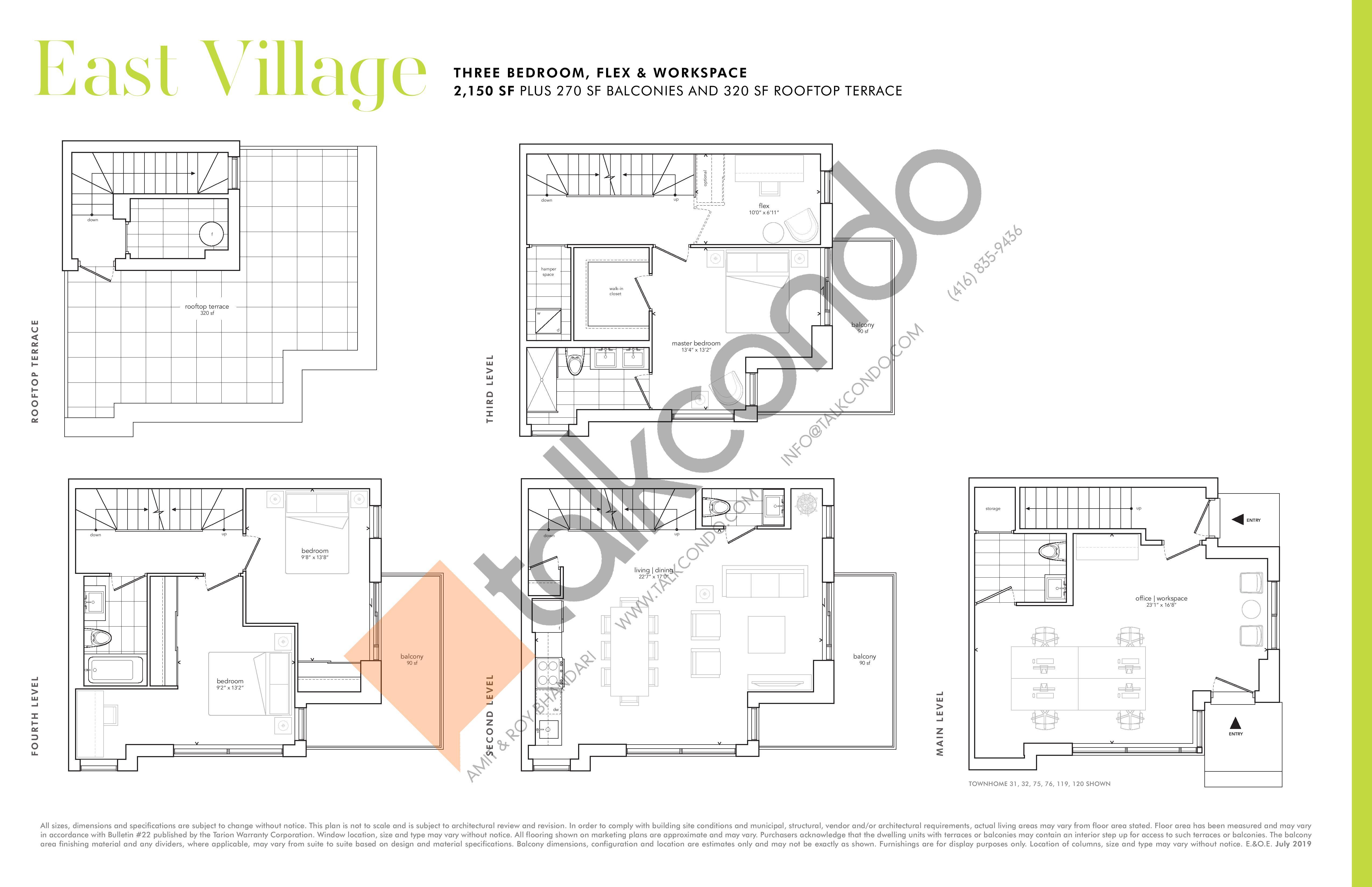 East Village (3 bdrm) Floor Plan at Greenwich Village Towns - 2150 sq.ft