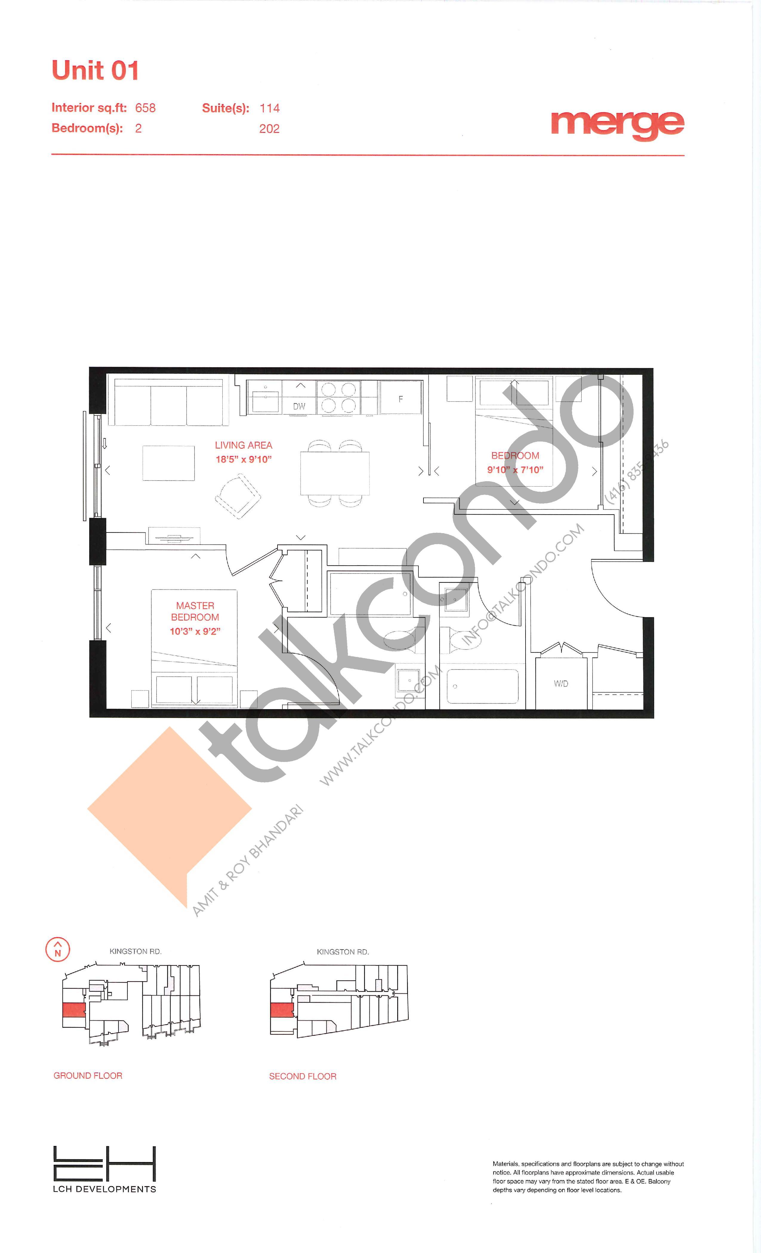 Unit 01 - Tower Floor Plan at Merge Condos - 658 sq.ft