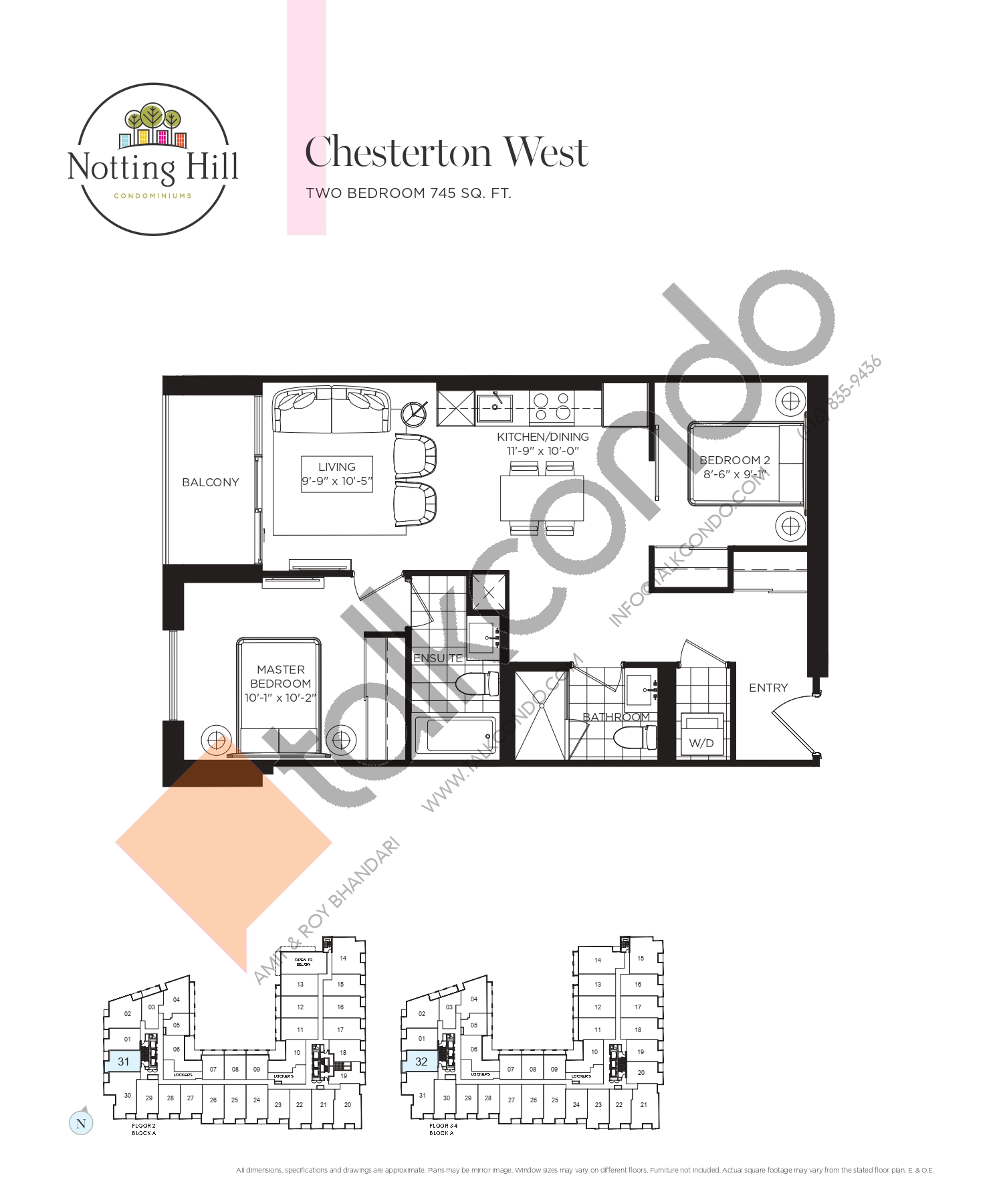 Chesterton West Floor Plan at Notting Hill Phase 2 Condos - 745 sq.ft